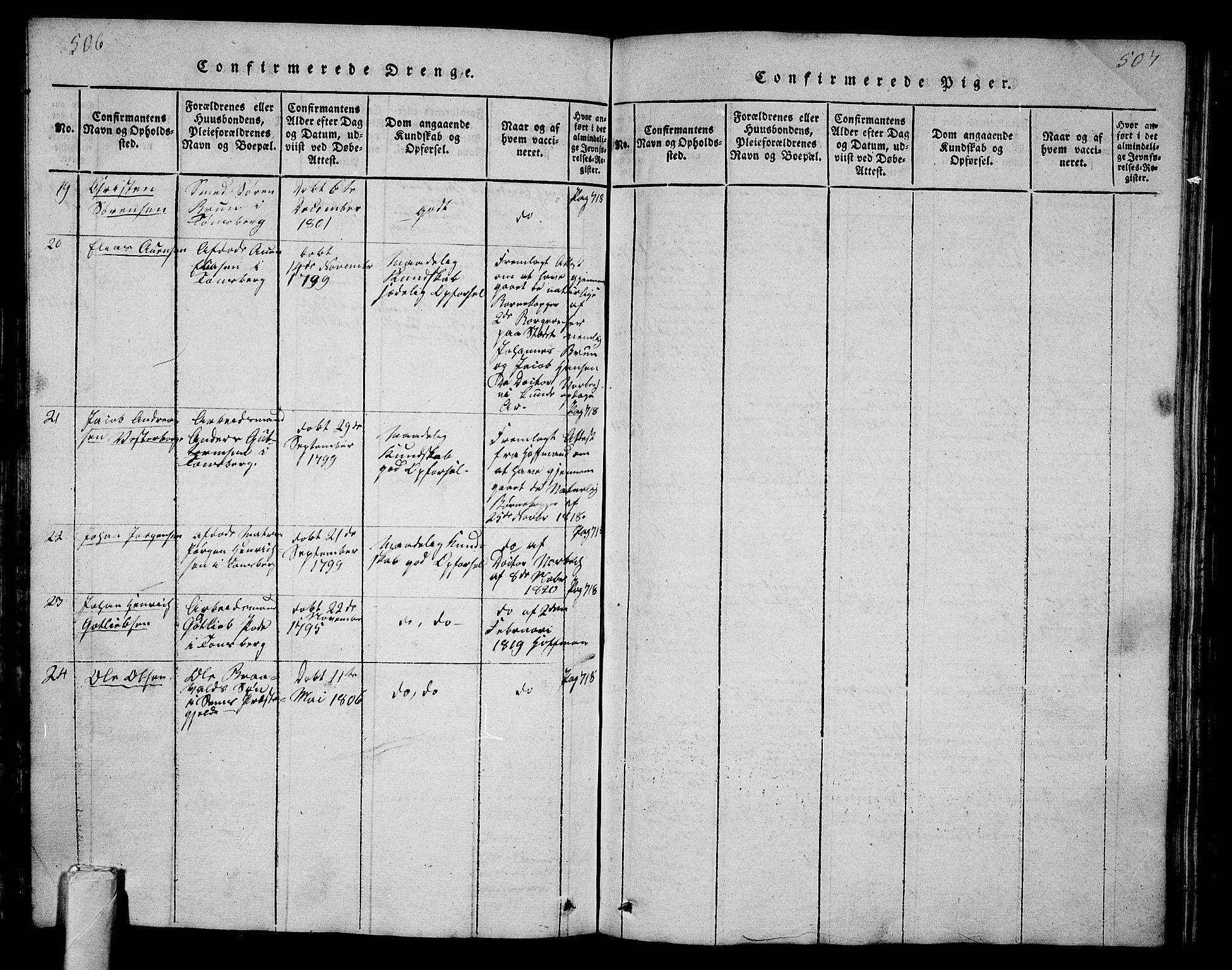 SAKO, Tønsberg kirkebøker, G/Ga/L0001: Klokkerbok nr. 1, 1813-1826, s. 506-507