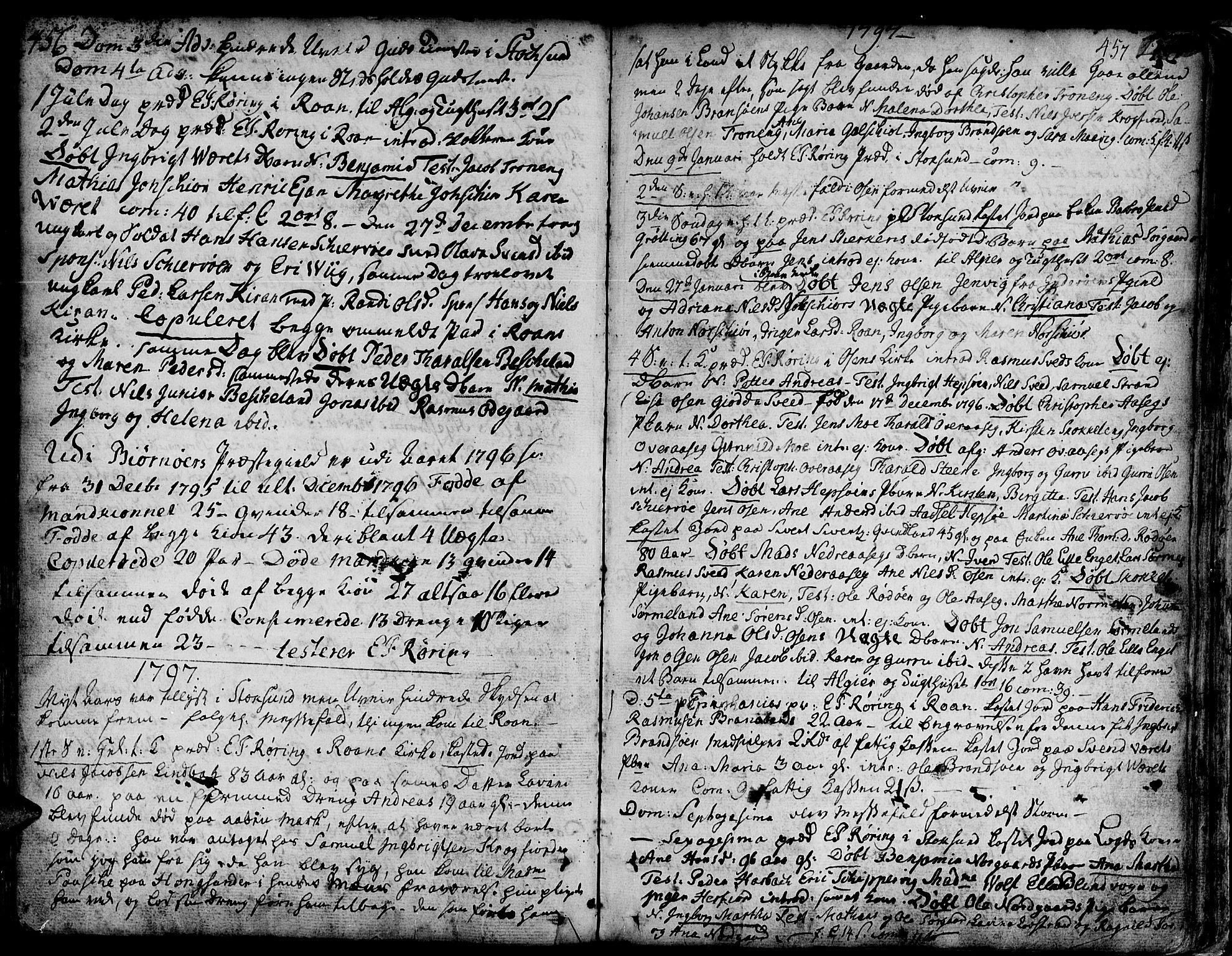 SAT, Ministerialprotokoller, klokkerbøker og fødselsregistre - Sør-Trøndelag, 657/L0700: Ministerialbok nr. 657A01, 1732-1801, s. 456-457