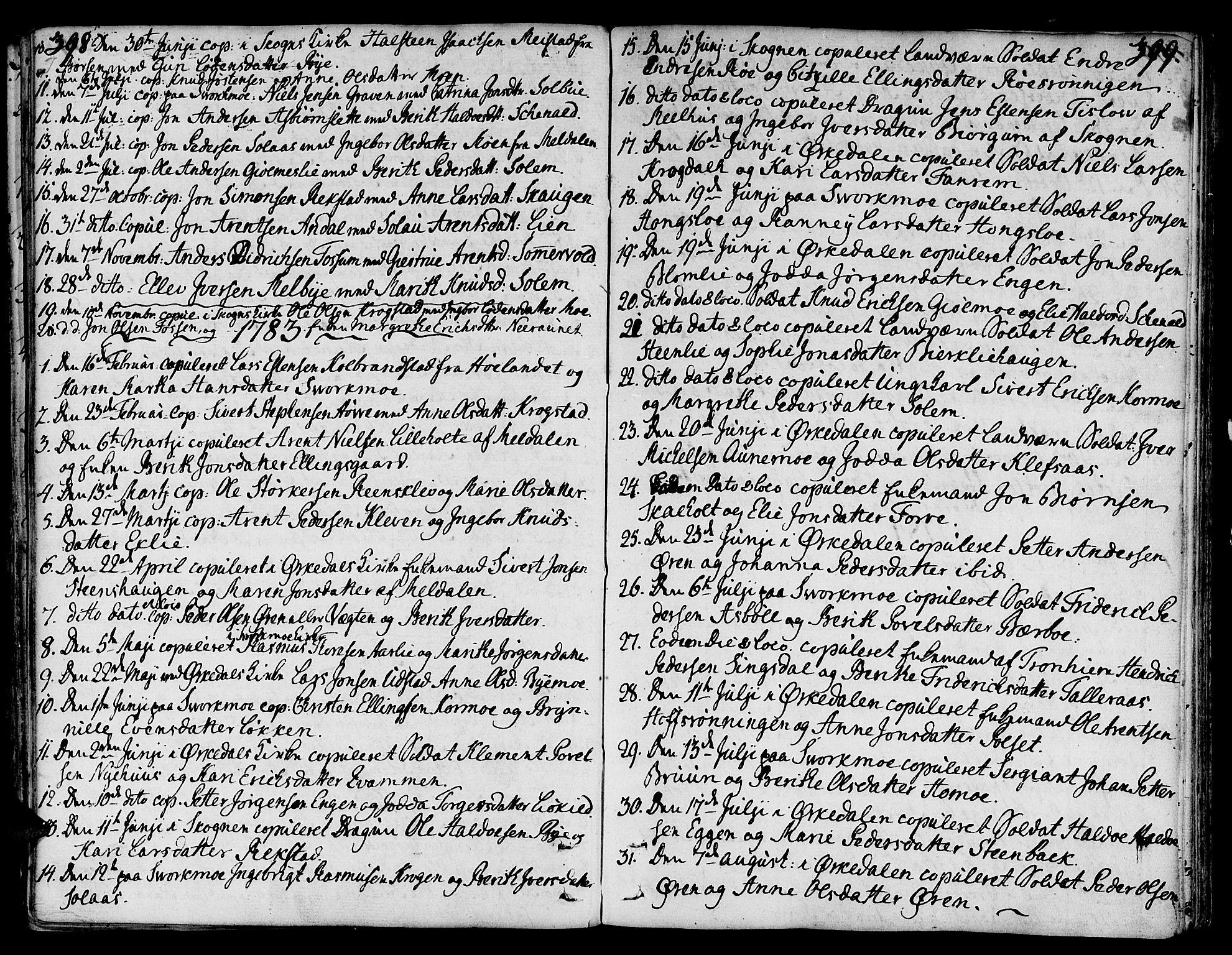 SAT, Ministerialprotokoller, klokkerbøker og fødselsregistre - Sør-Trøndelag, 668/L0802: Ministerialbok nr. 668A02, 1776-1799, s. 398-399