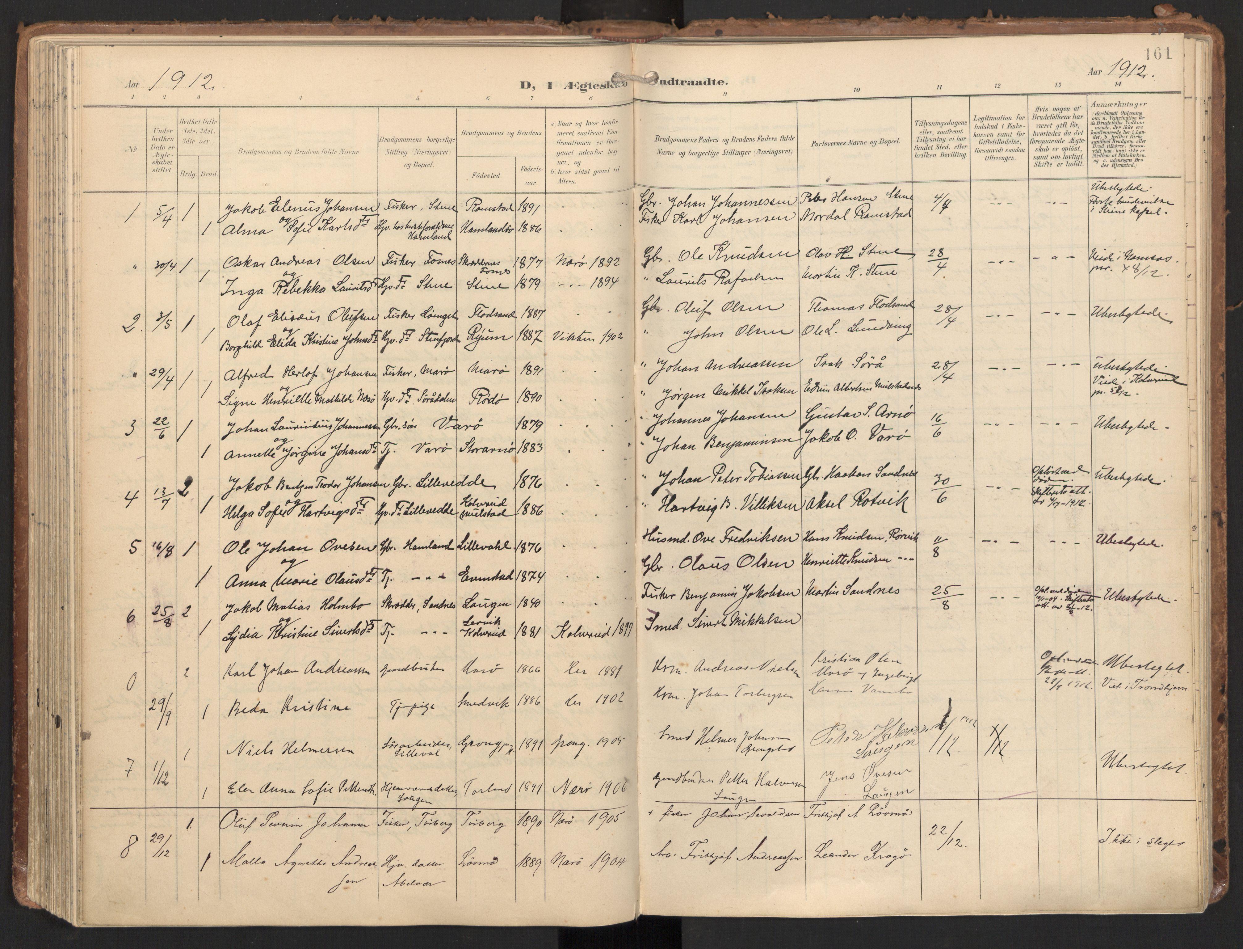SAT, Ministerialprotokoller, klokkerbøker og fødselsregistre - Nord-Trøndelag, 784/L0677: Ministerialbok nr. 784A12, 1900-1920, s. 161