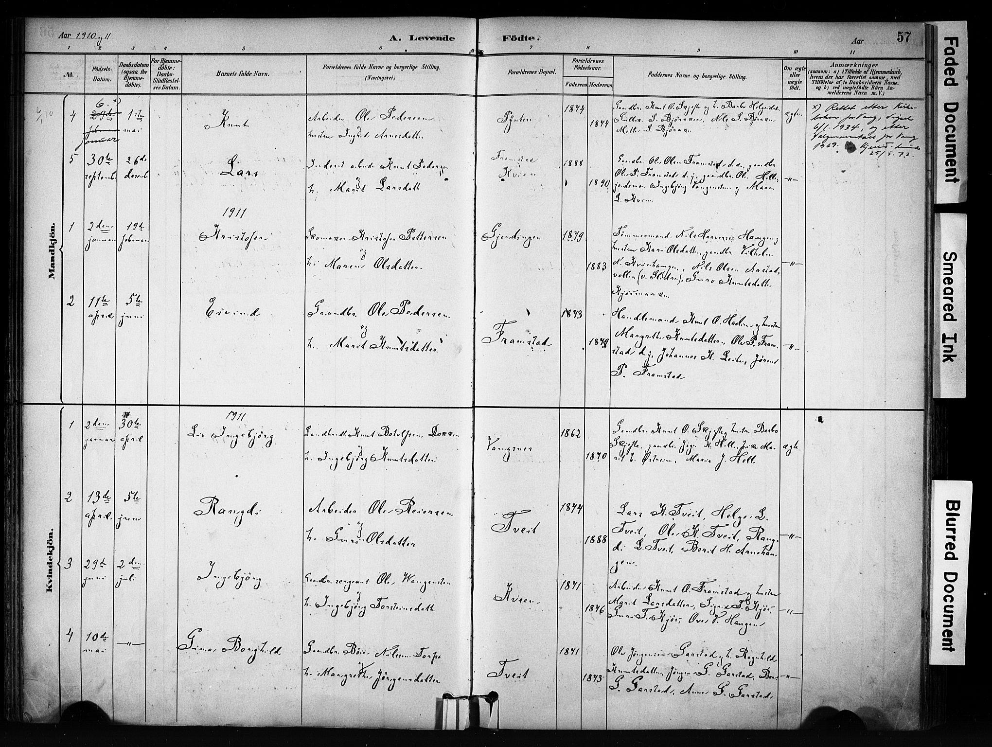 SAH, Vang prestekontor, Valdres, Ministerialbok nr. 9, 1882-1914, s. 57