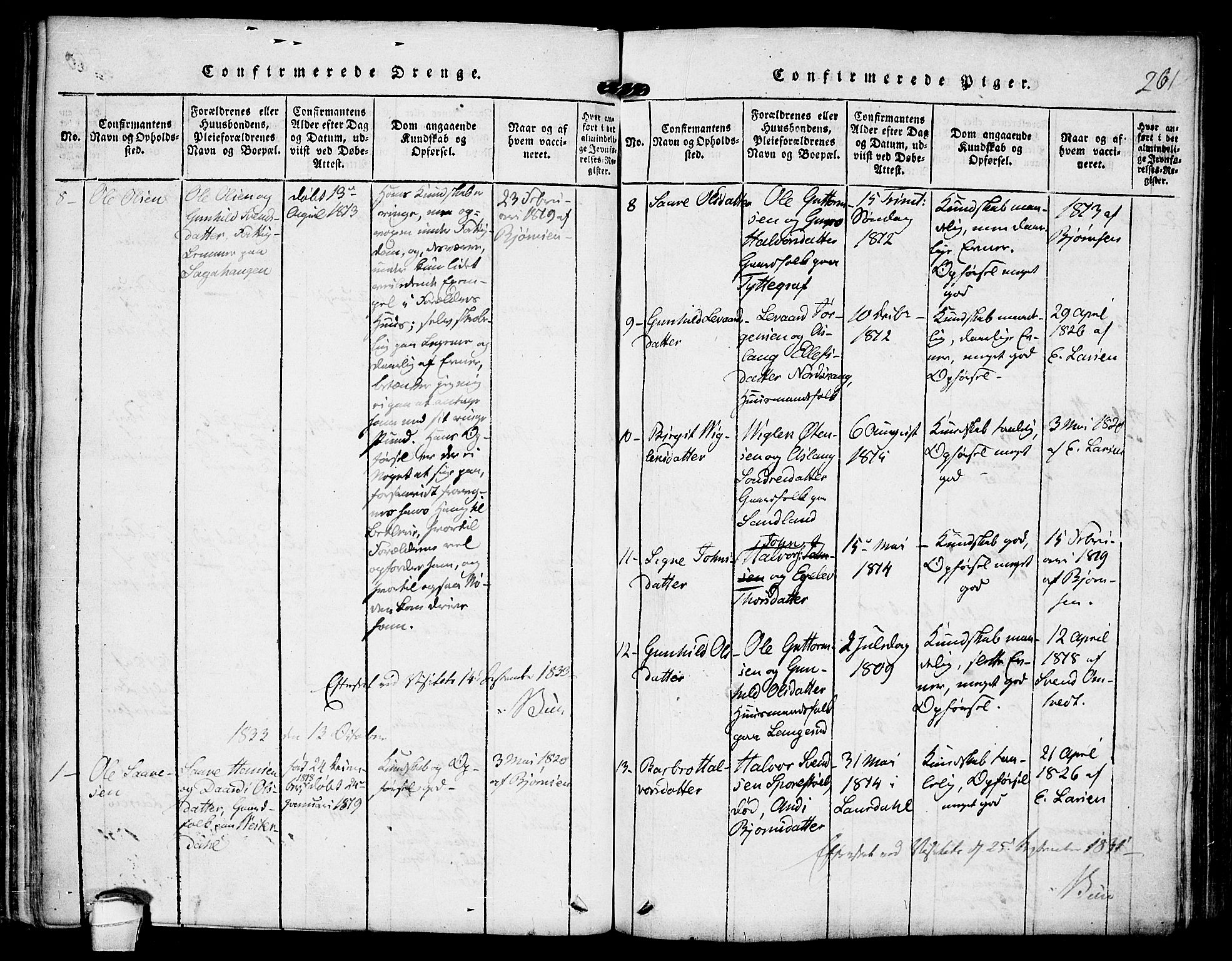 SAKO, Kviteseid kirkebøker, F/Fb/L0001: Ministerialbok nr. II 1, 1815-1836, s. 261