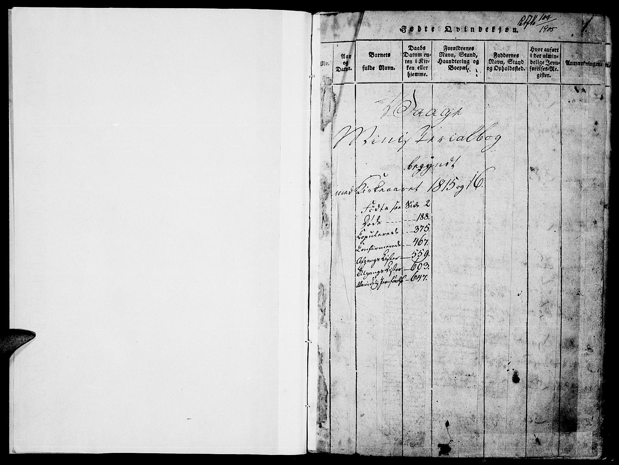 SAH, Vågå prestekontor, Klokkerbok nr. 1, 1815-1827, s. 0-1
