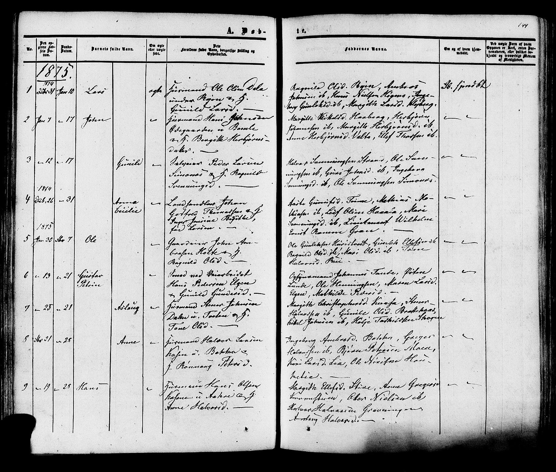 SAKO, Heddal kirkebøker, F/Fa/L0007: Ministerialbok nr. I 7, 1855-1877, s. 144