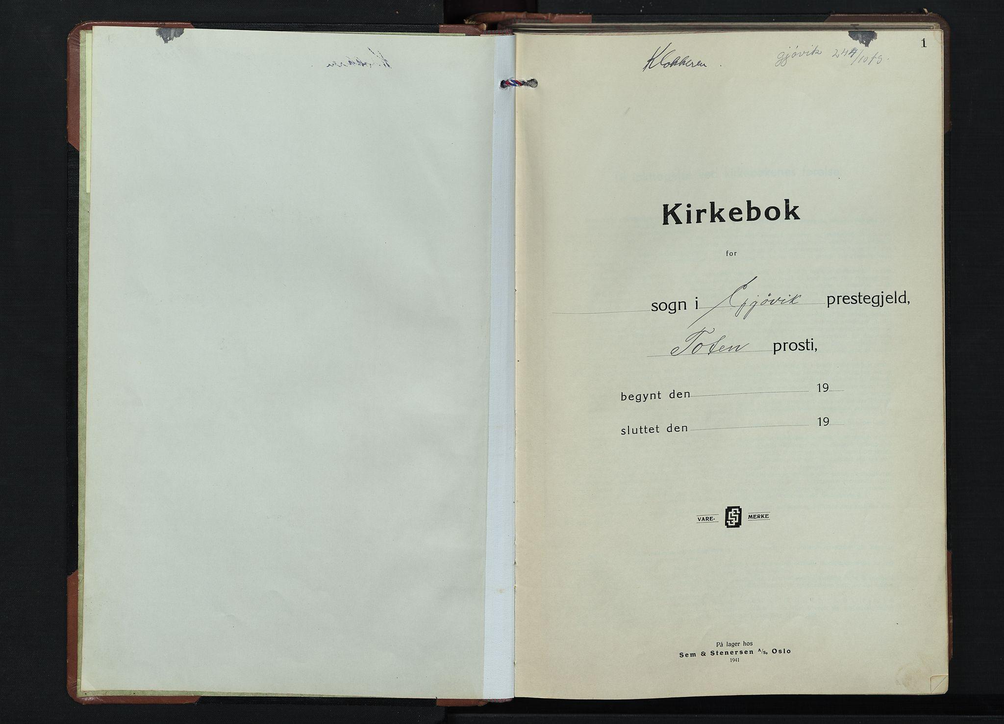 SAH, Gjøvik prestekontor, Klokkerbok nr. 1, 1941-1951, s. 1