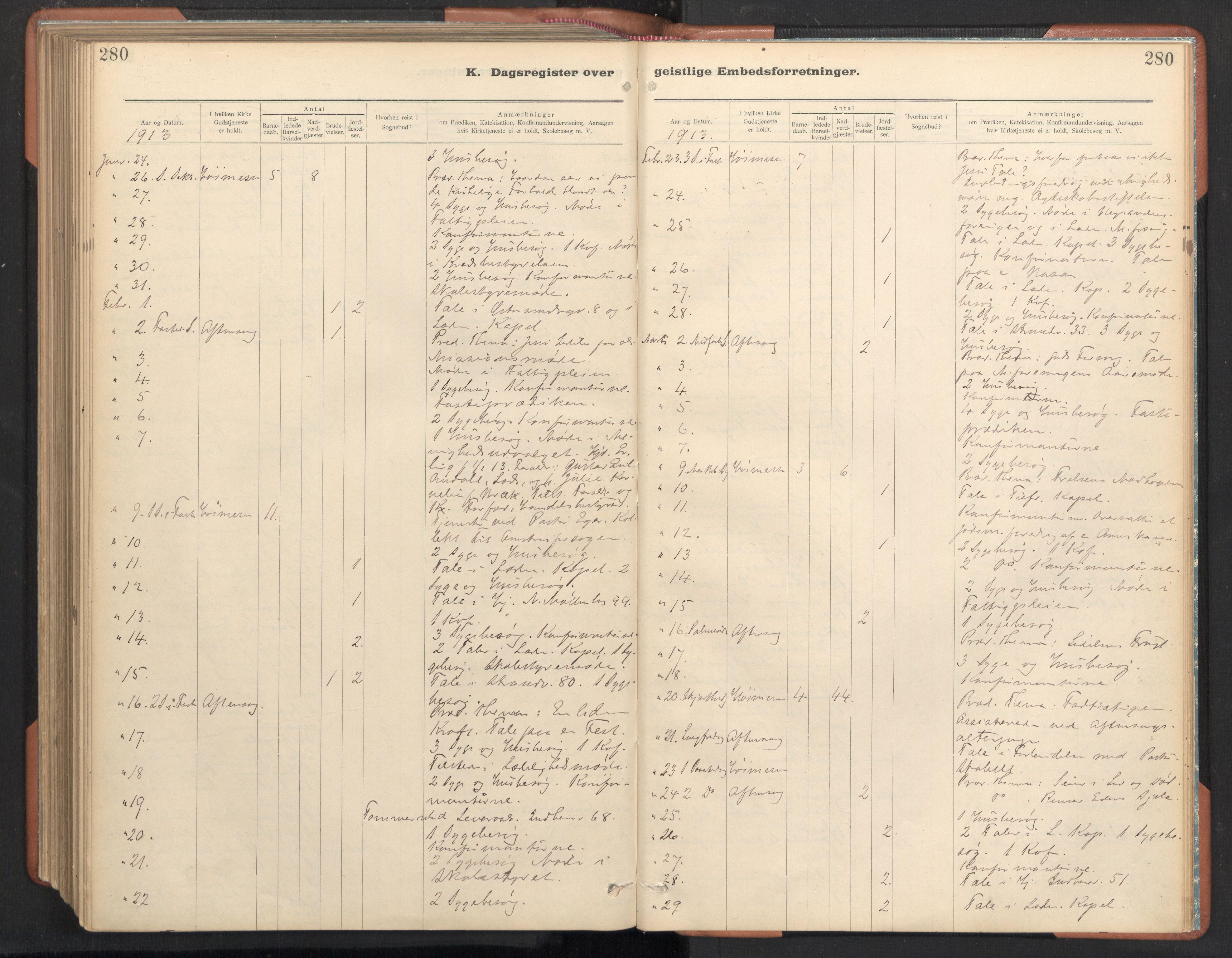 SAT, Ministerialprotokoller, klokkerbøker og fødselsregistre - Sør-Trøndelag, 605/L0244: Ministerialbok nr. 605A06, 1908-1954, s. 280