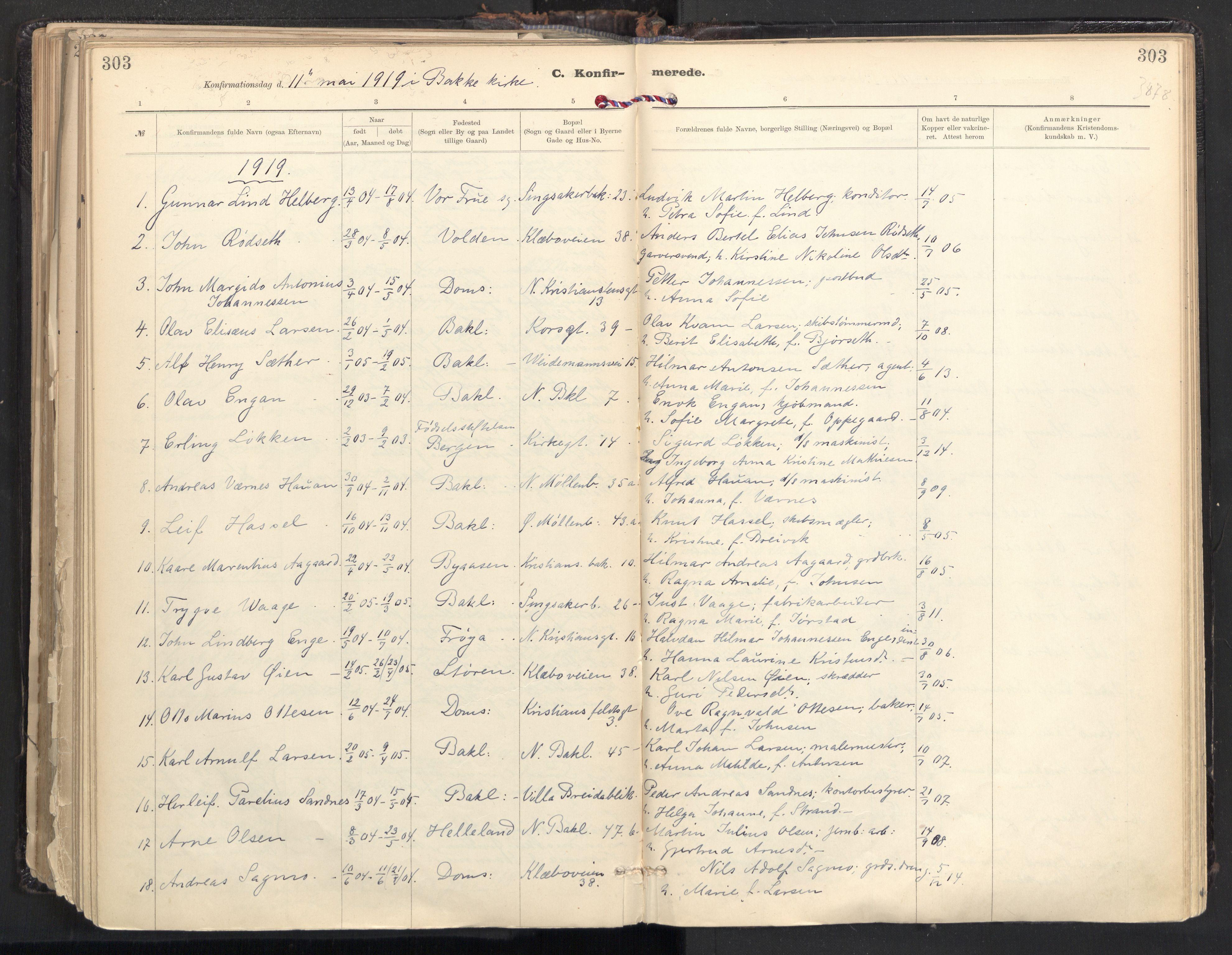 SAT, Ministerialprotokoller, klokkerbøker og fødselsregistre - Sør-Trøndelag, 604/L0205: Ministerialbok nr. 604A25, 1917-1932, s. 303