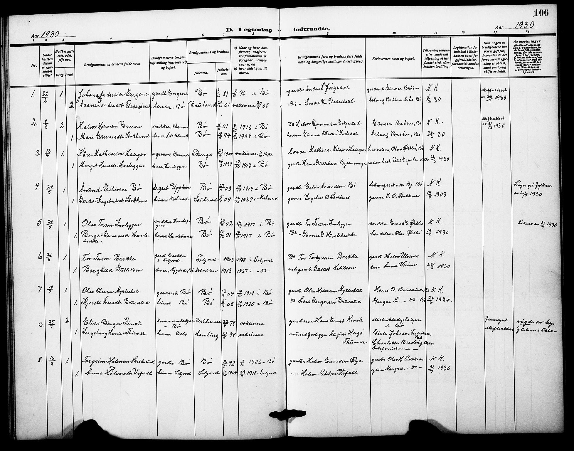 SAKO, Bø kirkebøker, G/Ga/L0008: Klokkerbok nr. 8, 1920-1930, s. 106