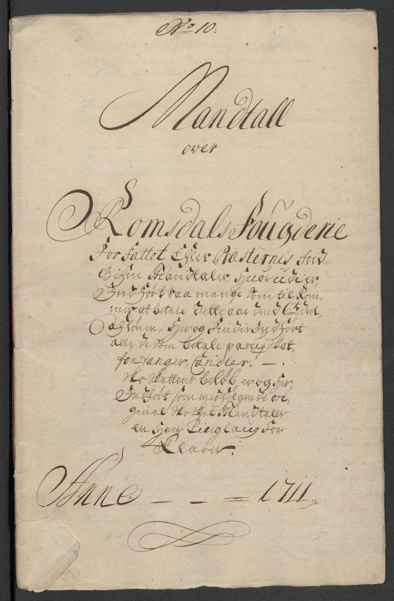 RA, Rentekammeret inntil 1814, Reviderte regnskaper, Fogderegnskap, R55/L3660: Fogderegnskap Romsdal, 1711, s. 130