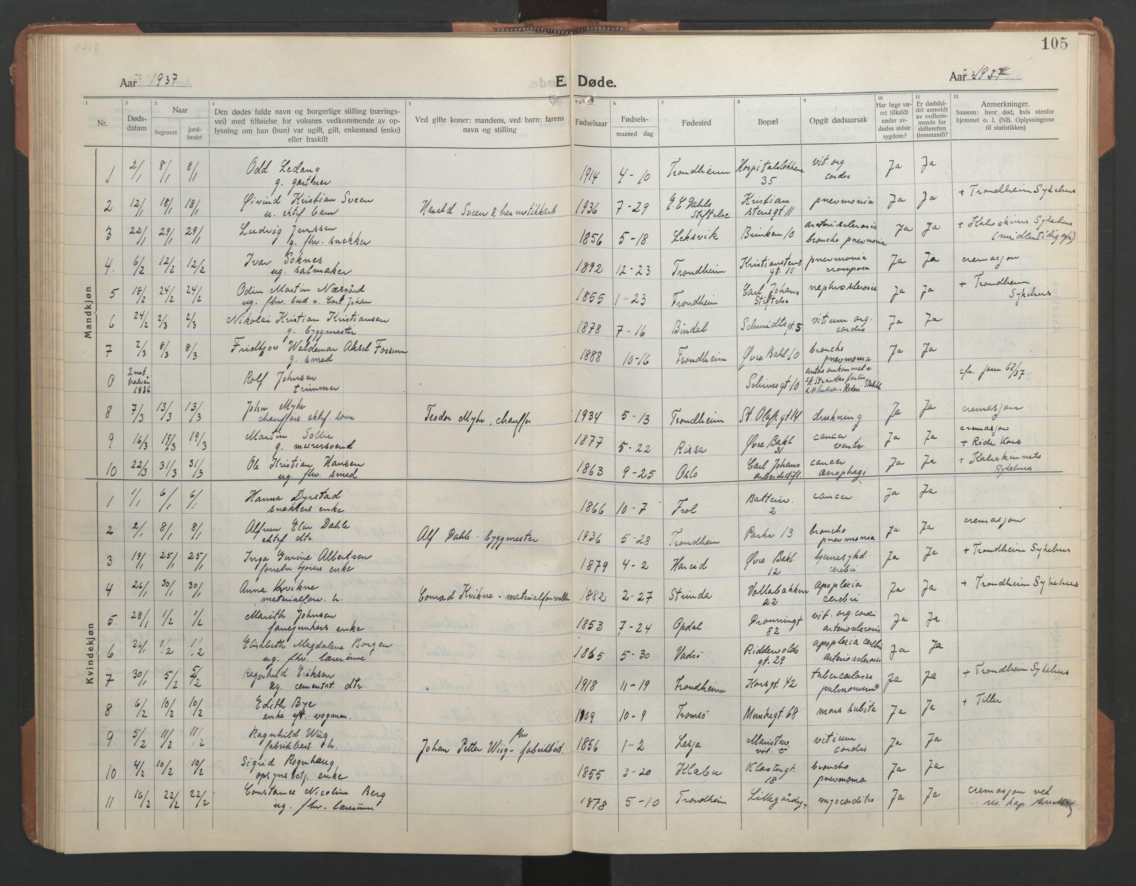 SAT, Ministerialprotokoller, klokkerbøker og fødselsregistre - Sør-Trøndelag, 602/L0150: Klokkerbok nr. 602C18, 1922-1949, s. 105