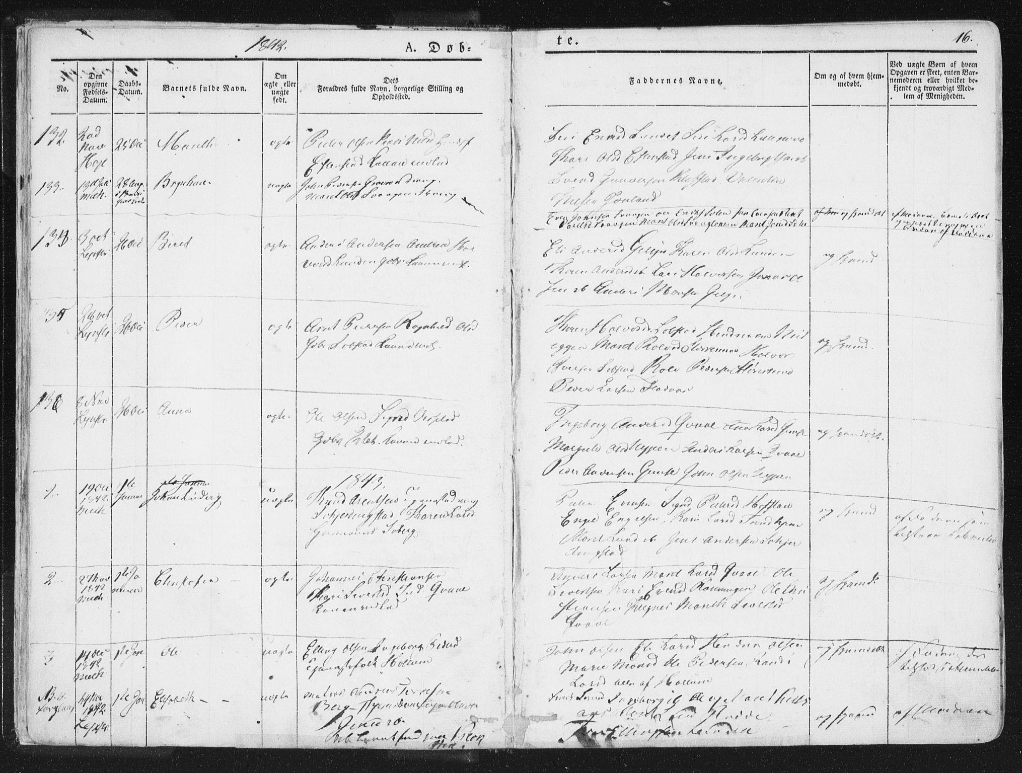 SAT, Ministerialprotokoller, klokkerbøker og fødselsregistre - Sør-Trøndelag, 691/L1074: Ministerialbok nr. 691A06, 1842-1852, s. 16