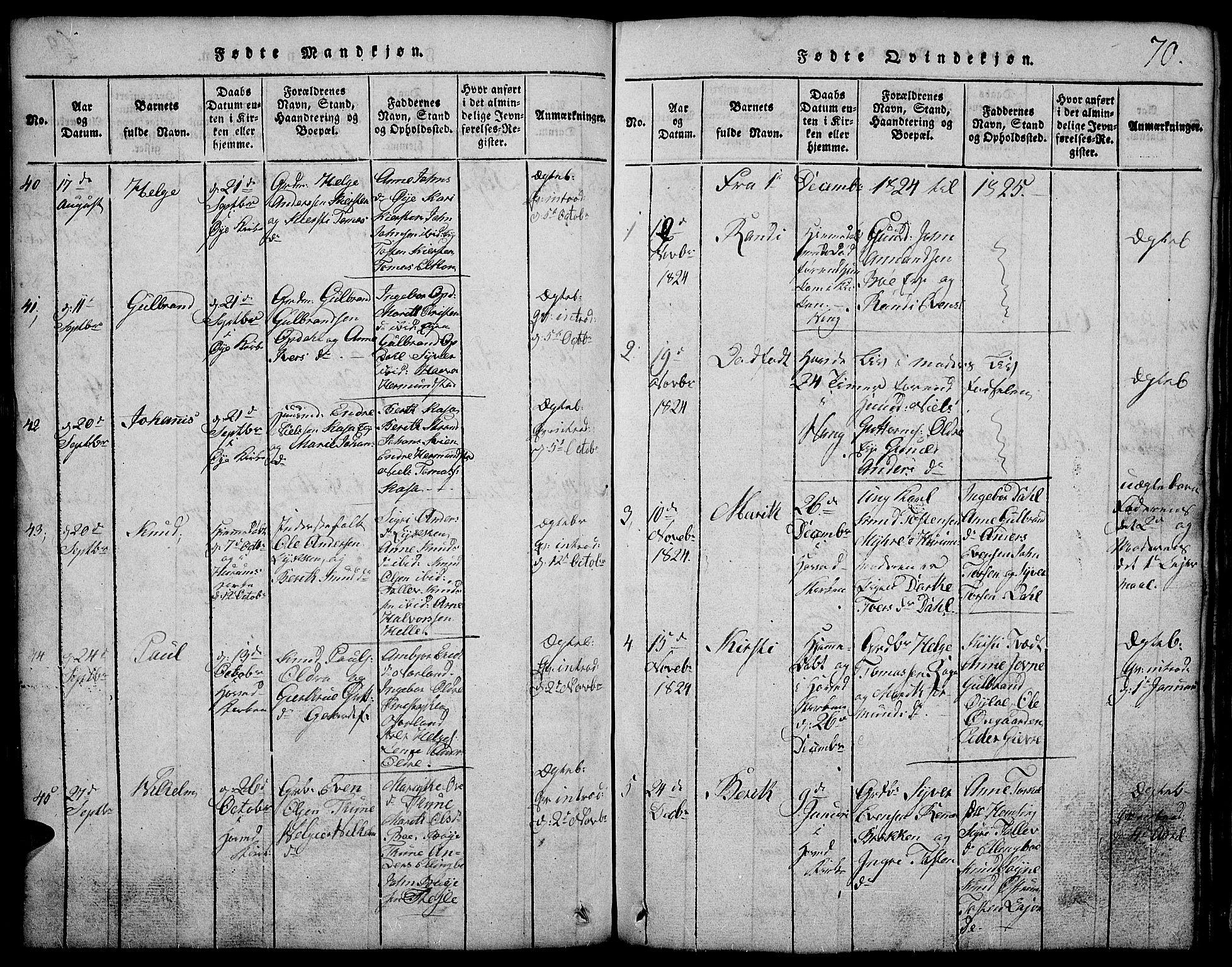 SAH, Vang prestekontor, Valdres, Klokkerbok nr. 2, 1814-1889, s. 70