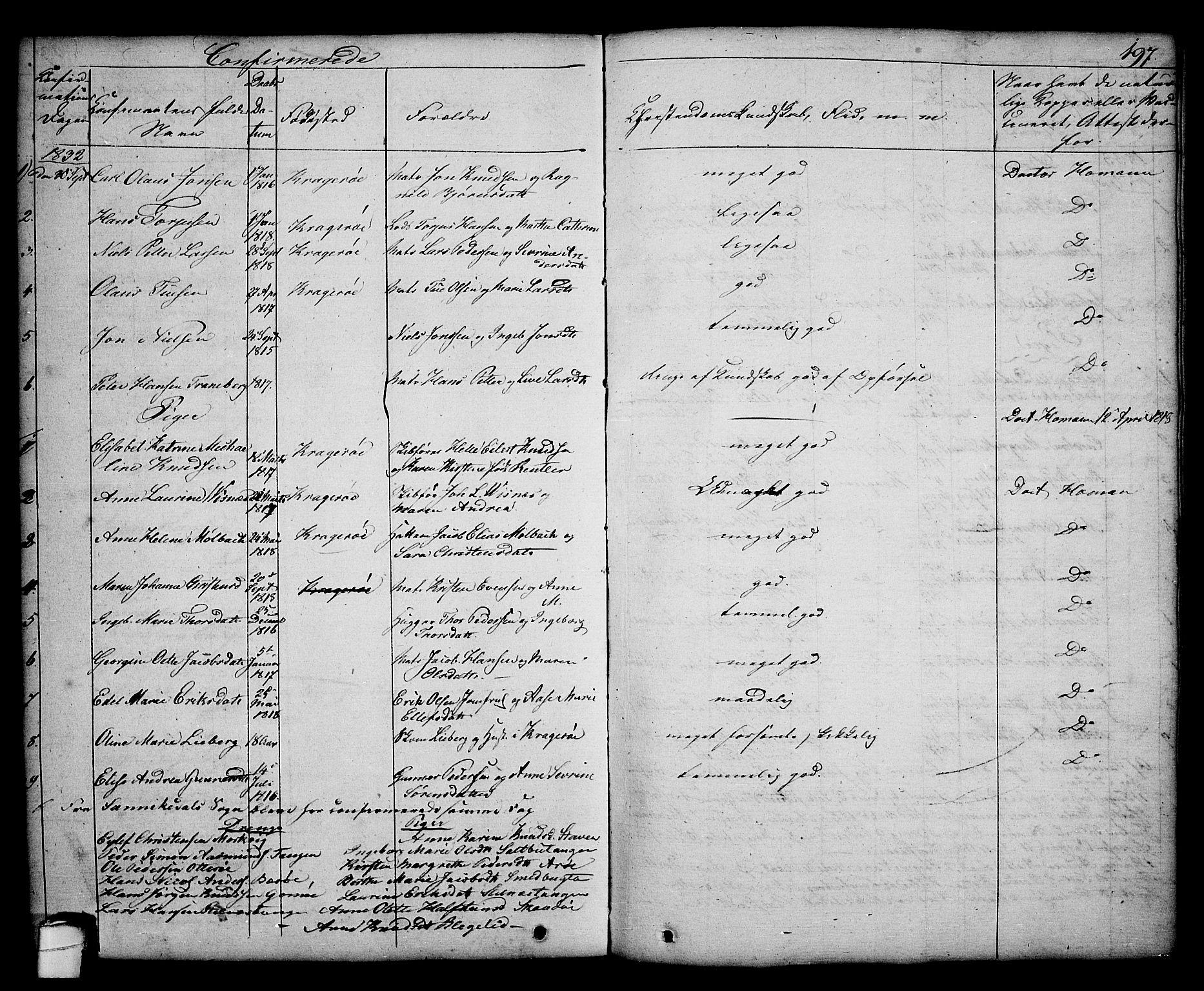 SAKO, Kragerø kirkebøker, G/Ga/L0003: Klokkerbok nr. 3, 1832-1852, s. 197