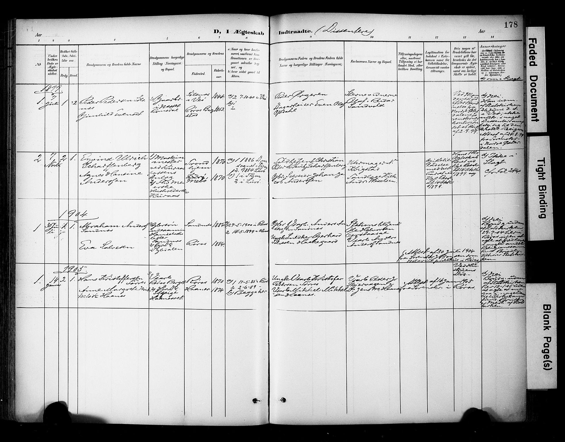 SAT, Ministerialprotokoller, klokkerbøker og fødselsregistre - Sør-Trøndelag, 681/L0936: Ministerialbok nr. 681A14, 1899-1908, s. 178
