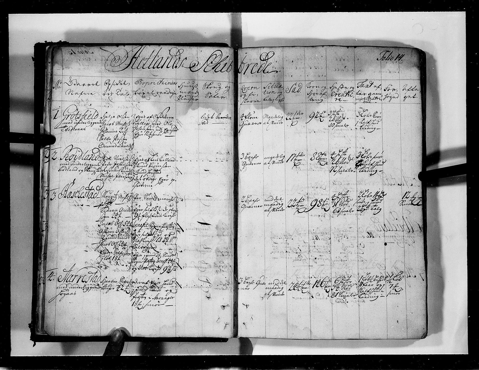 RA, Rentekammeret inntil 1814, Realistisk ordnet avdeling, N/Nb/Nbf/L0131: Jæren og Dalane eksaminasjonsprotokoll, 1723, s. 13b-14a