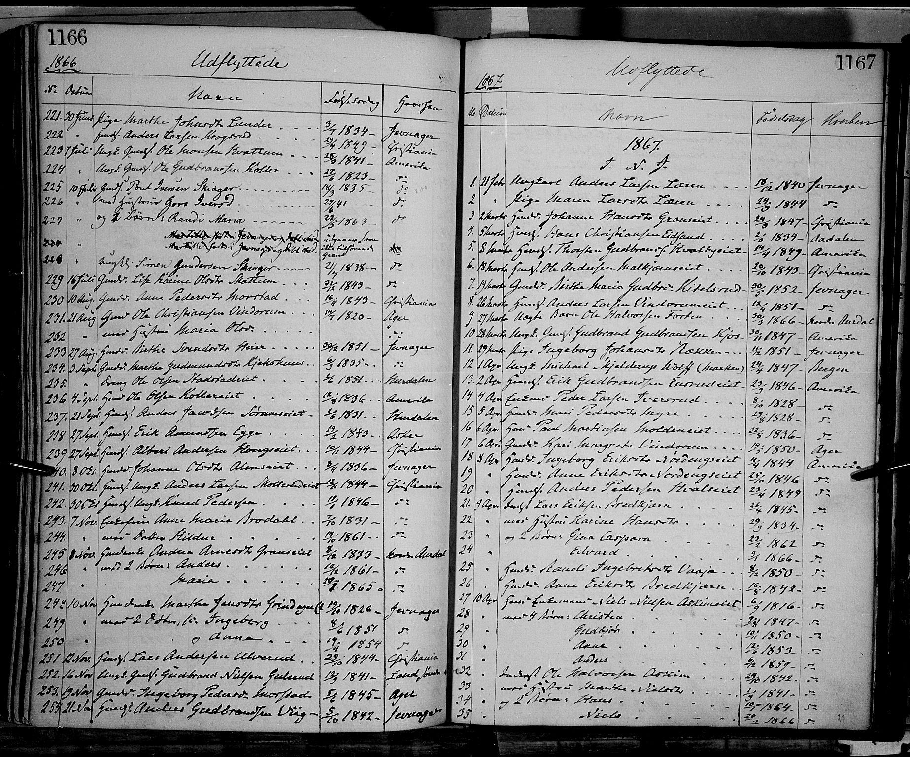 SAH, Gran prestekontor, Ministerialbok nr. 12, 1856-1874, s. 1166-1167
