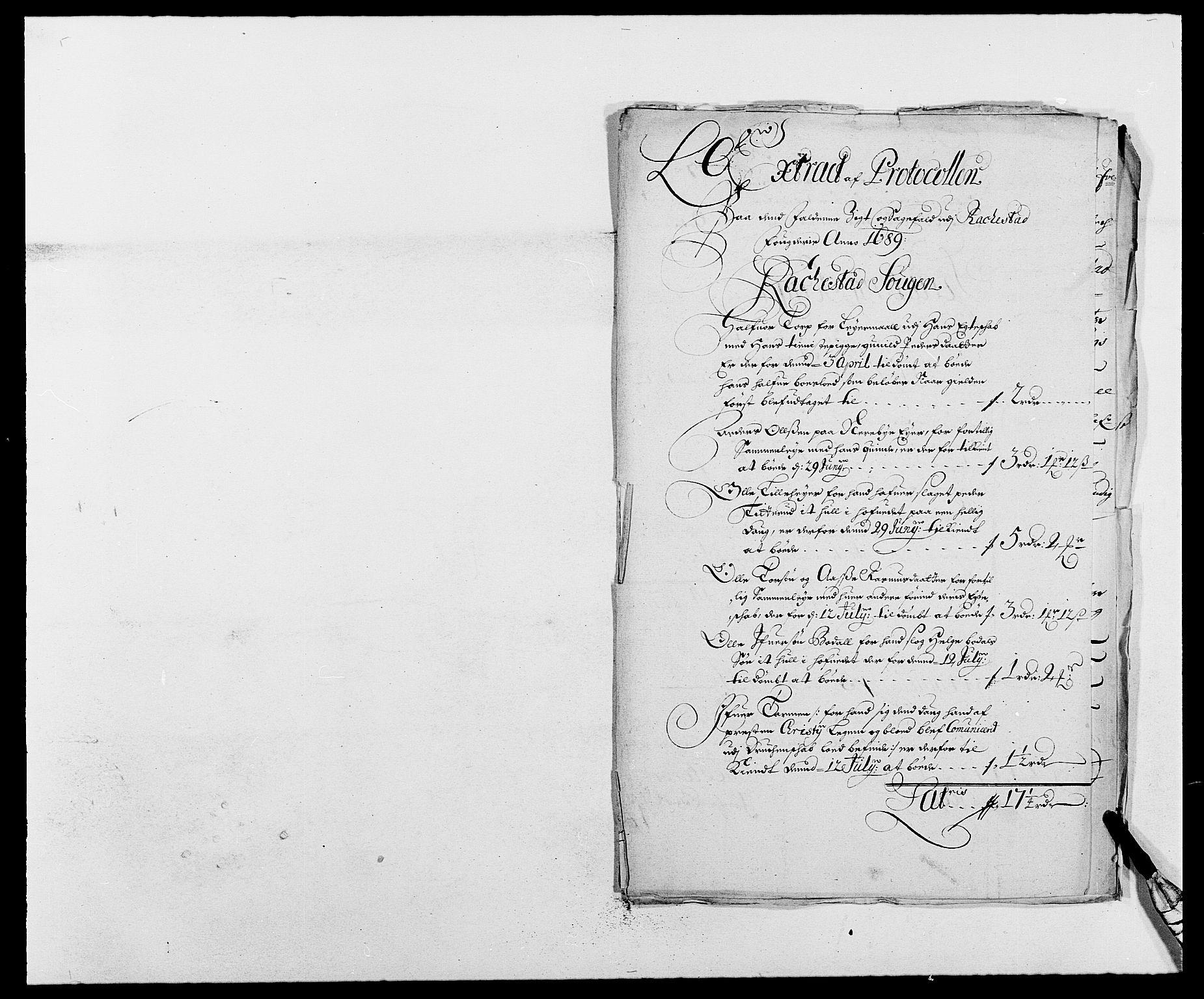 RA, Rentekammeret inntil 1814, Reviderte regnskaper, Fogderegnskap, R05/L0277: Fogderegnskap Rakkestad, 1689-1690, s. 42