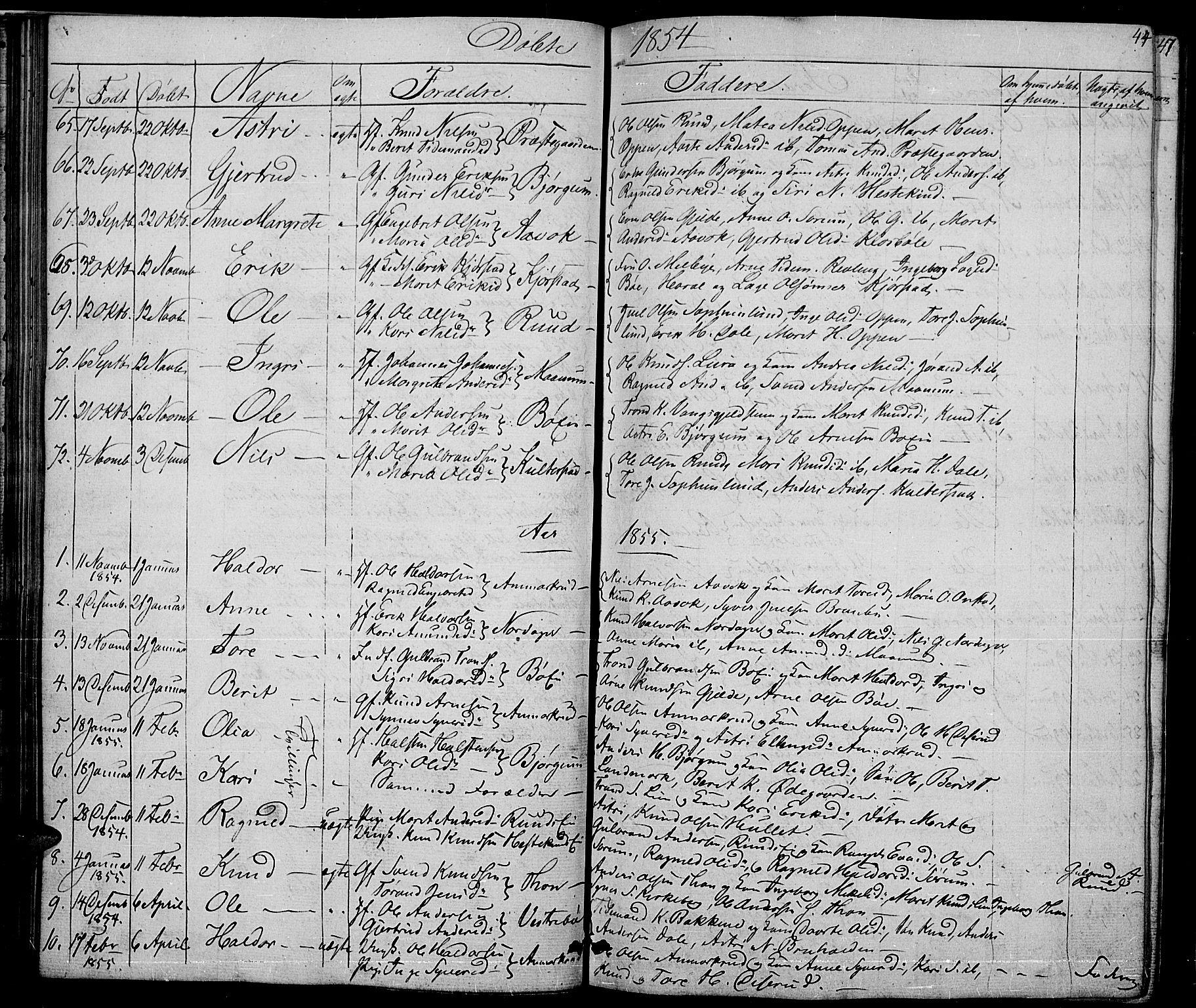 SAH, Nord-Aurdal prestekontor, Klokkerbok nr. 2, 1842-1877, s. 44