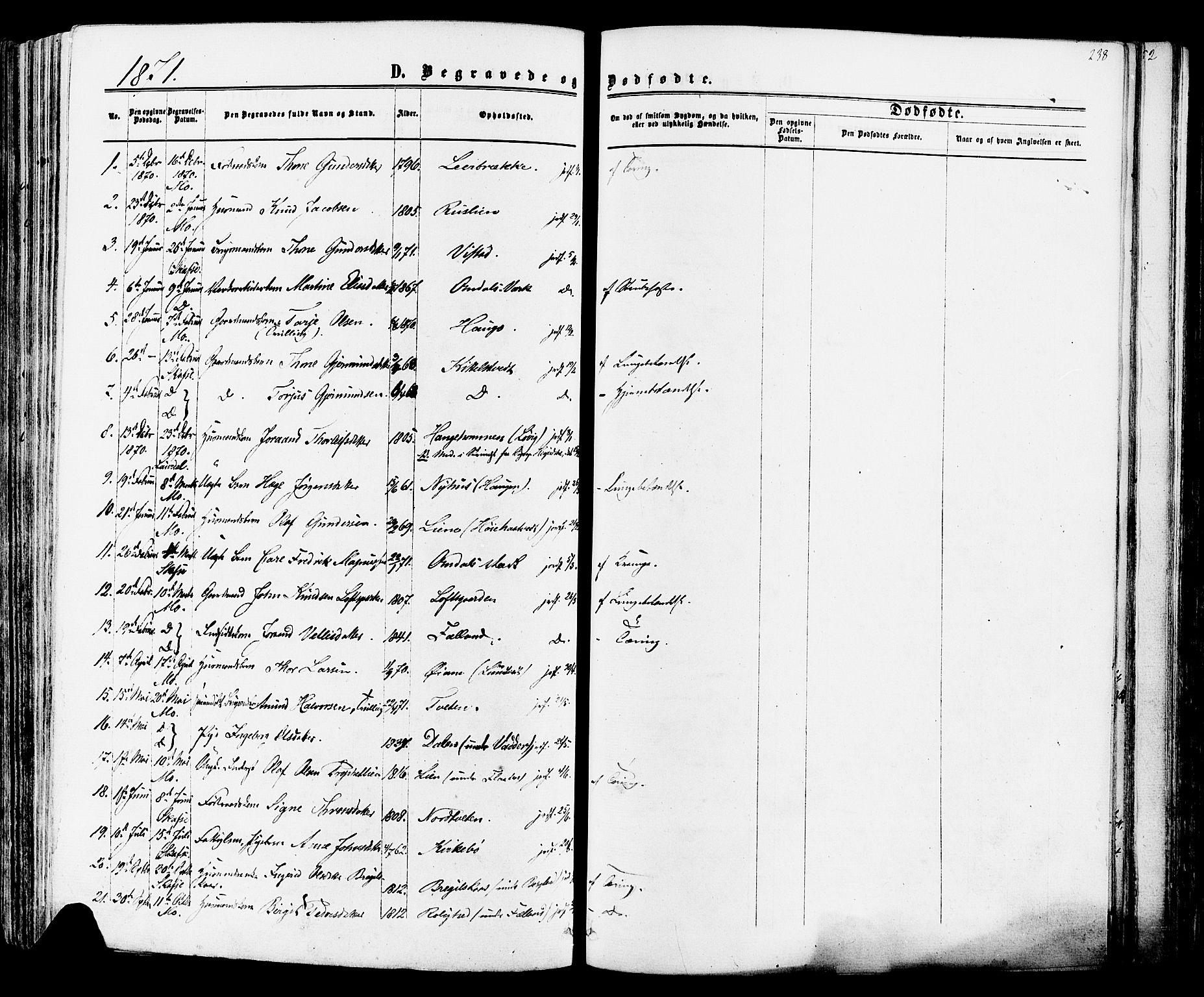 SAKO, Mo kirkebøker, F/Fa/L0006: Ministerialbok nr. I 6, 1865-1885, s. 238