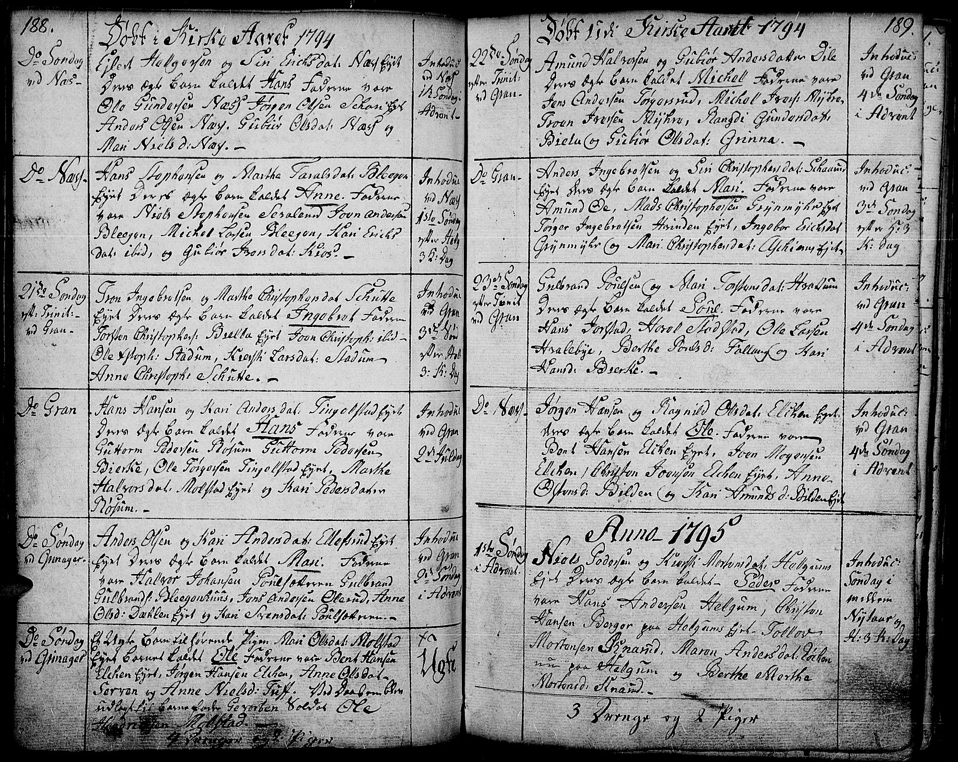 SAH, Gran prestekontor, Ministerialbok nr. 6, 1787-1824, s. 188-189