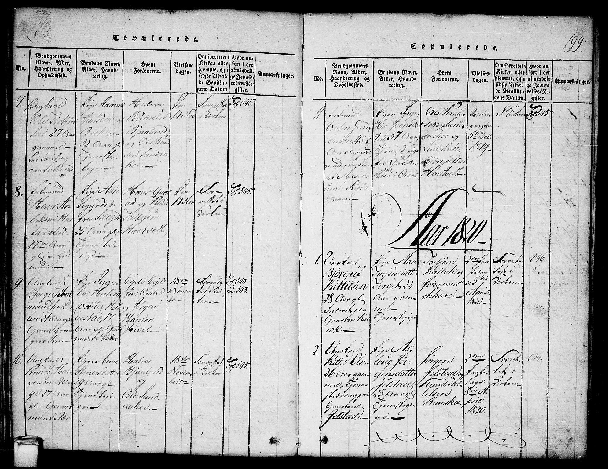 SAKO, Kviteseid kirkebøker, G/Gb/L0001: Klokkerbok nr. II 1, 1815-1842, s. 199
