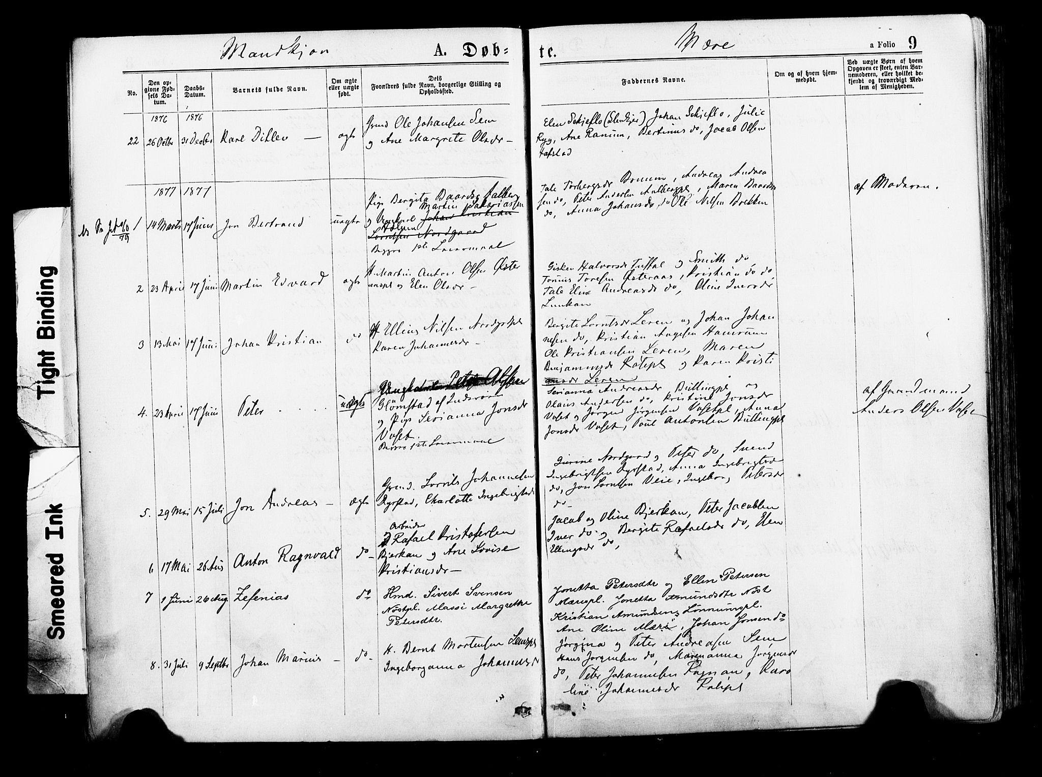 SAT, Ministerialprotokoller, klokkerbøker og fødselsregistre - Nord-Trøndelag, 735/L0348: Ministerialbok nr. 735A09 /1, 1873-1883, s. 9