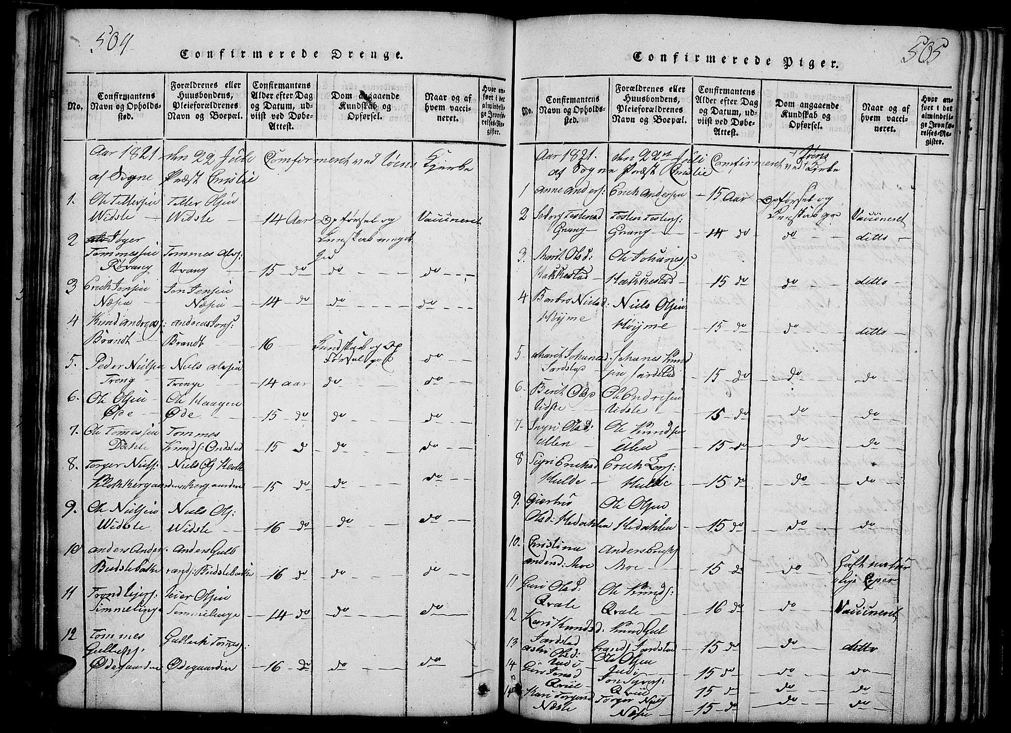 SAH, Slidre prestekontor, Ministerialbok nr. 2, 1814-1830, s. 504-505