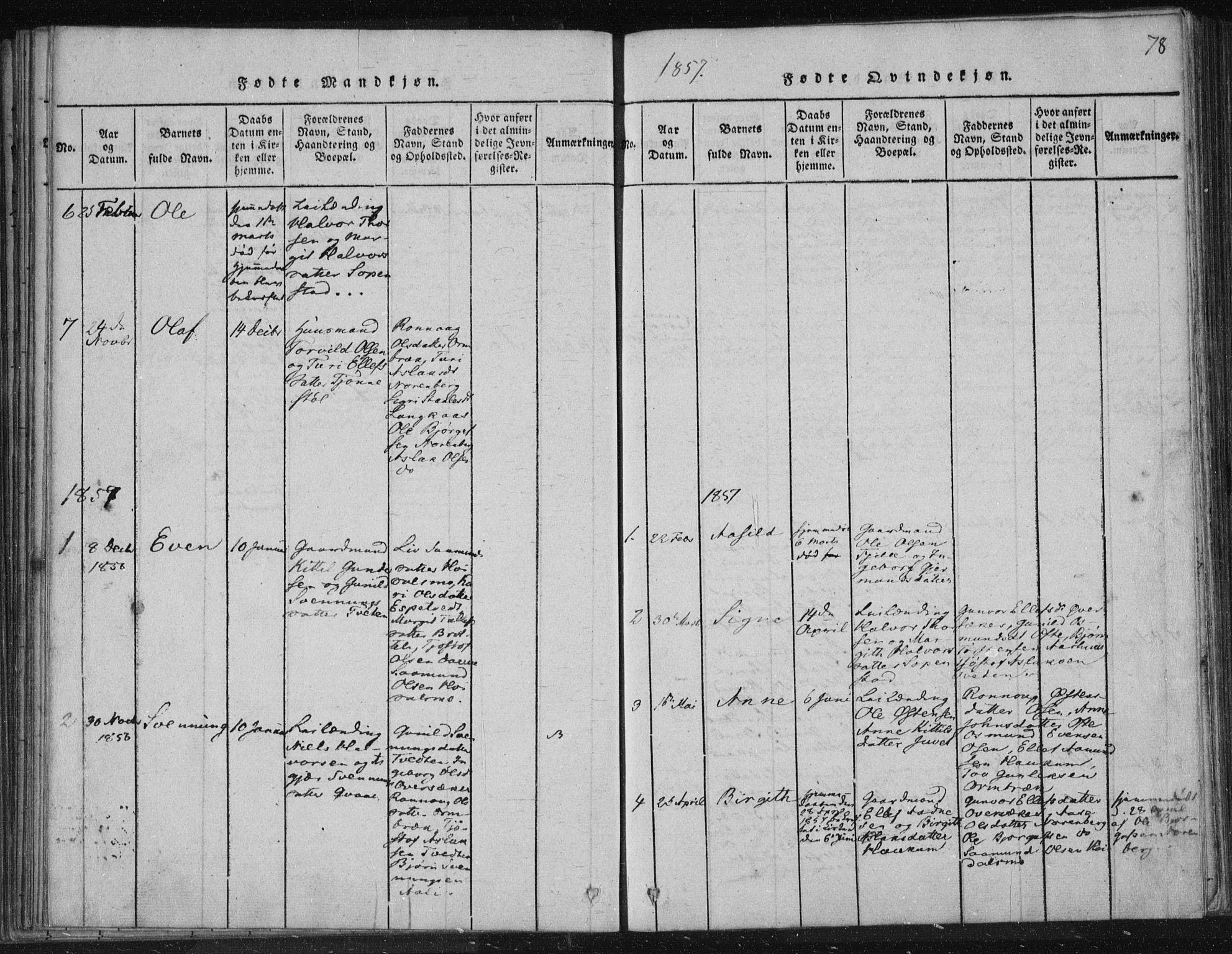 SAKO, Lårdal kirkebøker, F/Fc/L0001: Ministerialbok nr. III 1, 1815-1860, s. 78
