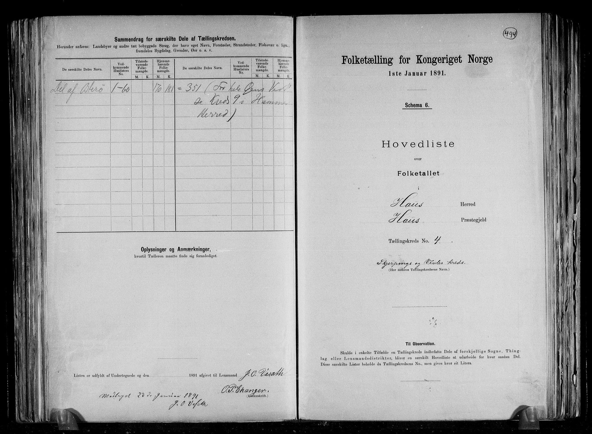 RA, Folketelling 1891 for 1250 Haus herred, 1891, s. 10