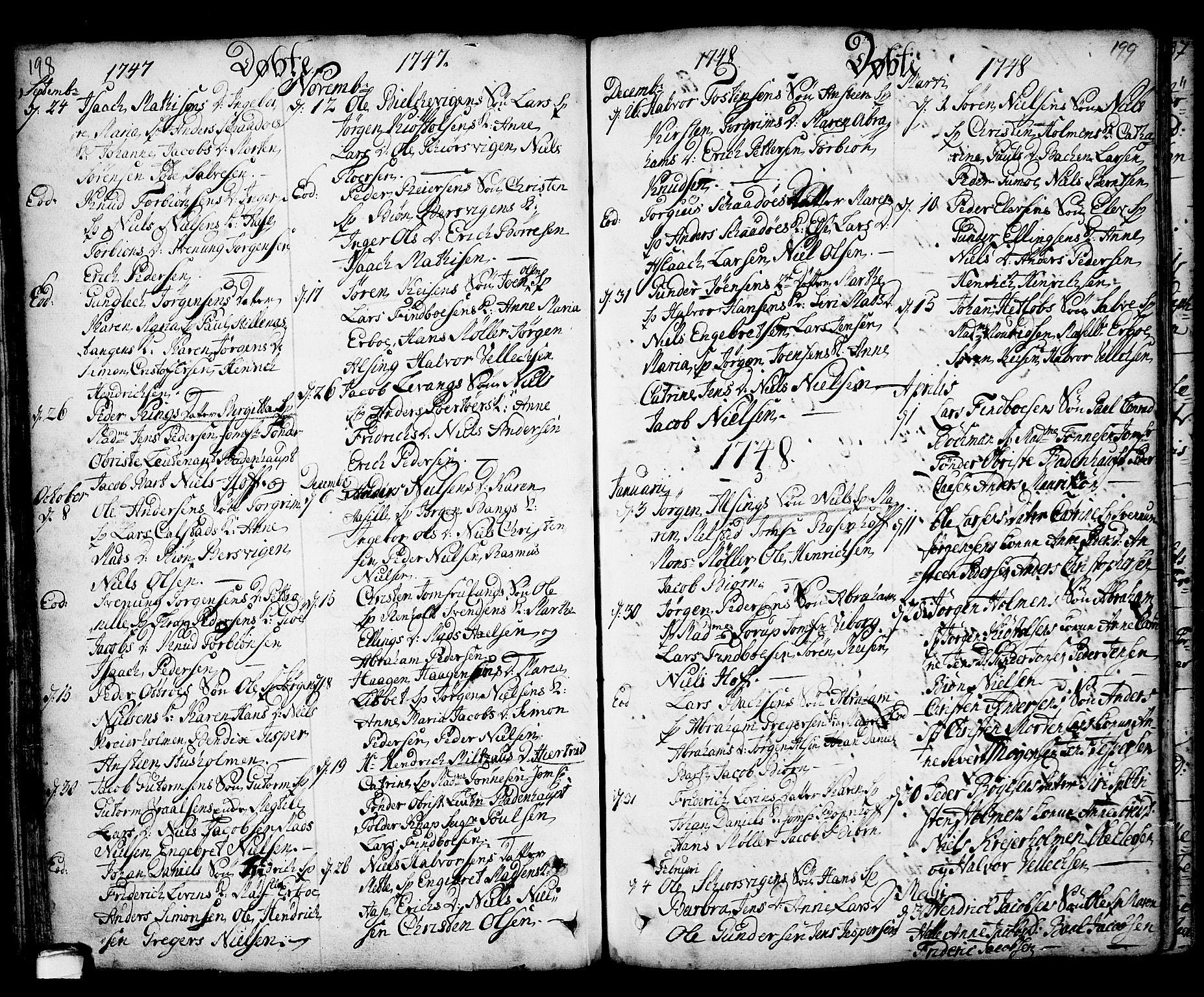 SAKO, Kragerø kirkebøker, F/Fa/L0001: Ministerialbok nr. 1, 1702-1766, s. 198-199