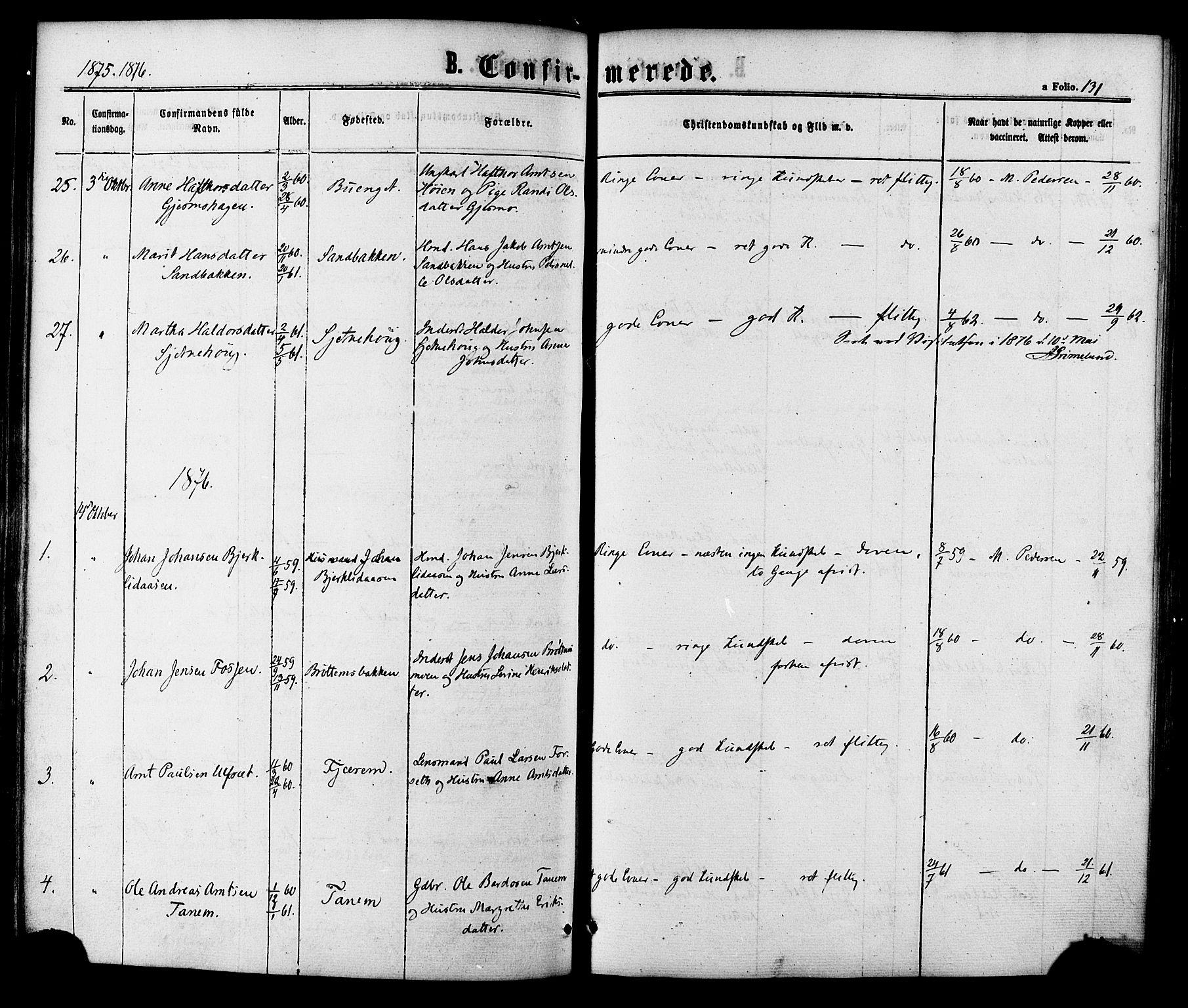 SAT, Ministerialprotokoller, klokkerbøker og fødselsregistre - Sør-Trøndelag, 618/L0442: Ministerialbok nr. 618A06 /1, 1863-1879, s. 131