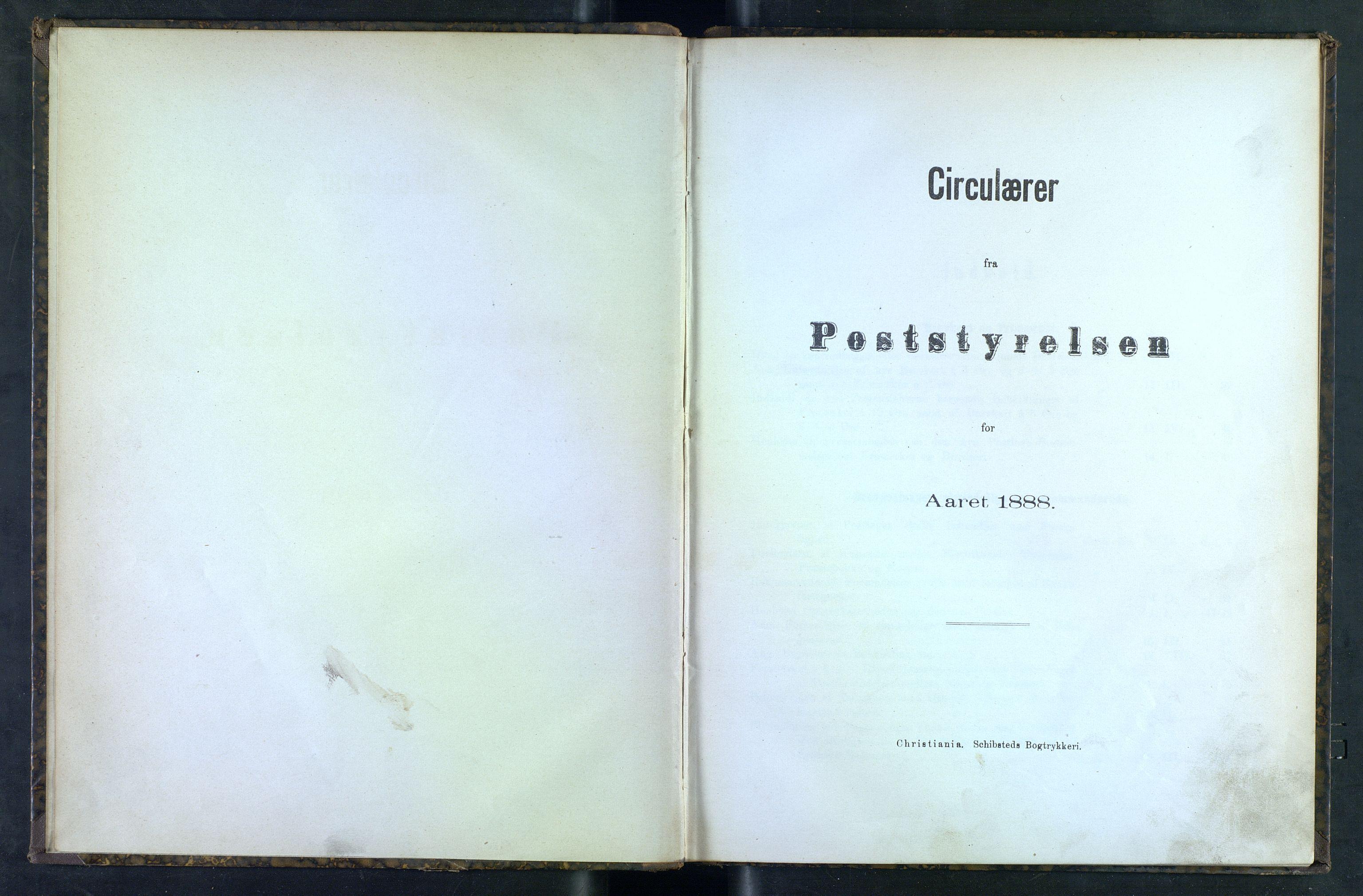 NOPO, Norges Postmuseums bibliotek, -/-: Sirkulærer fra Poststyrelsen, 1888