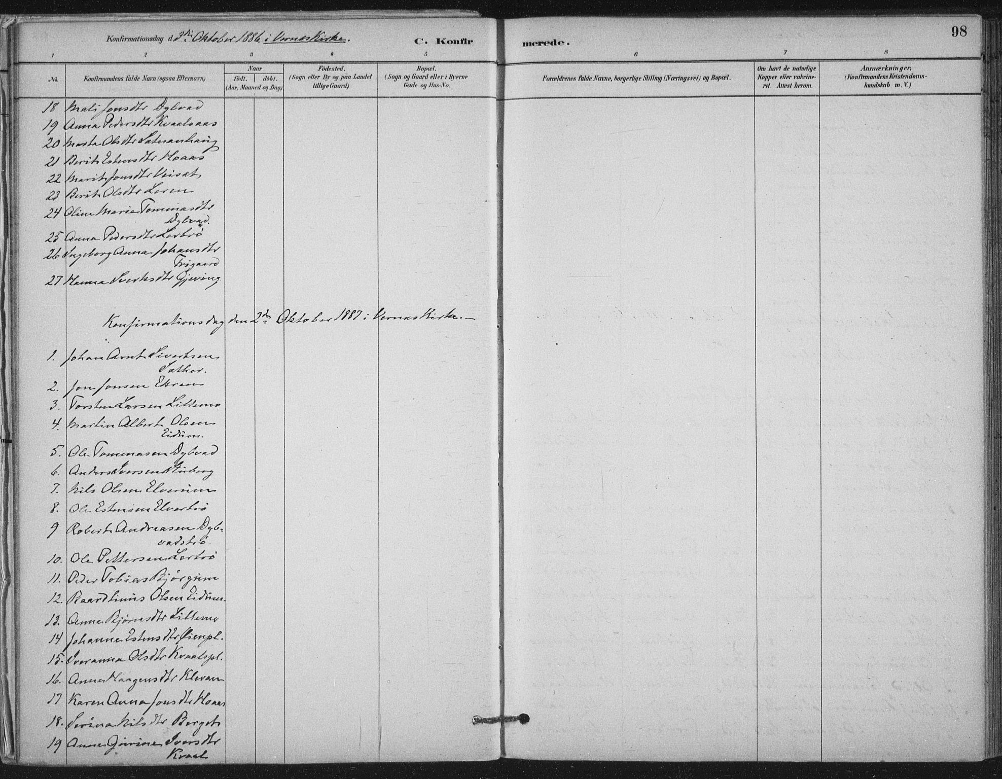 SAT, Ministerialprotokoller, klokkerbøker og fødselsregistre - Nord-Trøndelag, 710/L0095: Ministerialbok nr. 710A01, 1880-1914, s. 98
