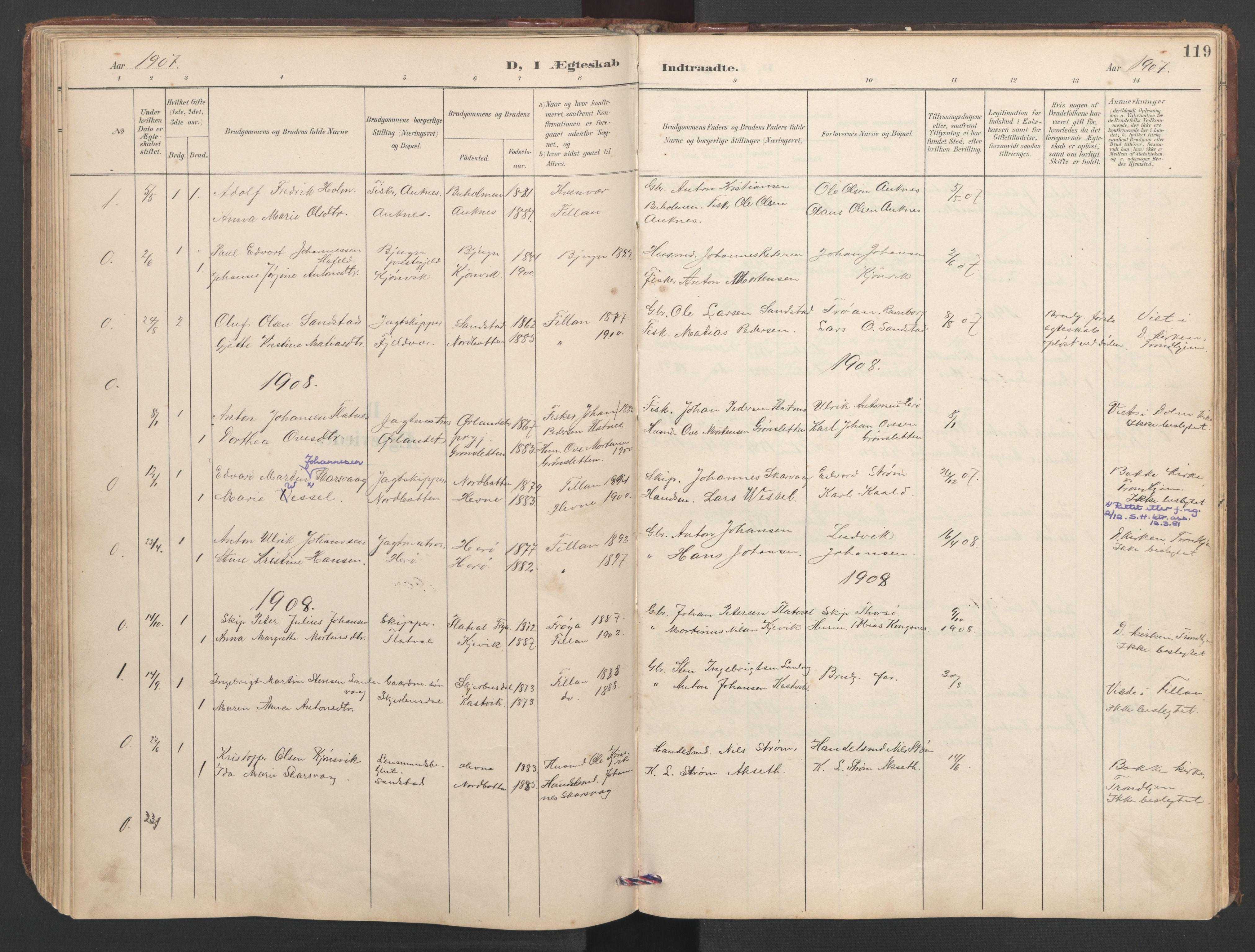 SAT, Ministerialprotokoller, klokkerbøker og fødselsregistre - Sør-Trøndelag, 638/L0571: Klokkerbok nr. 638C03, 1901-1930, s. 119