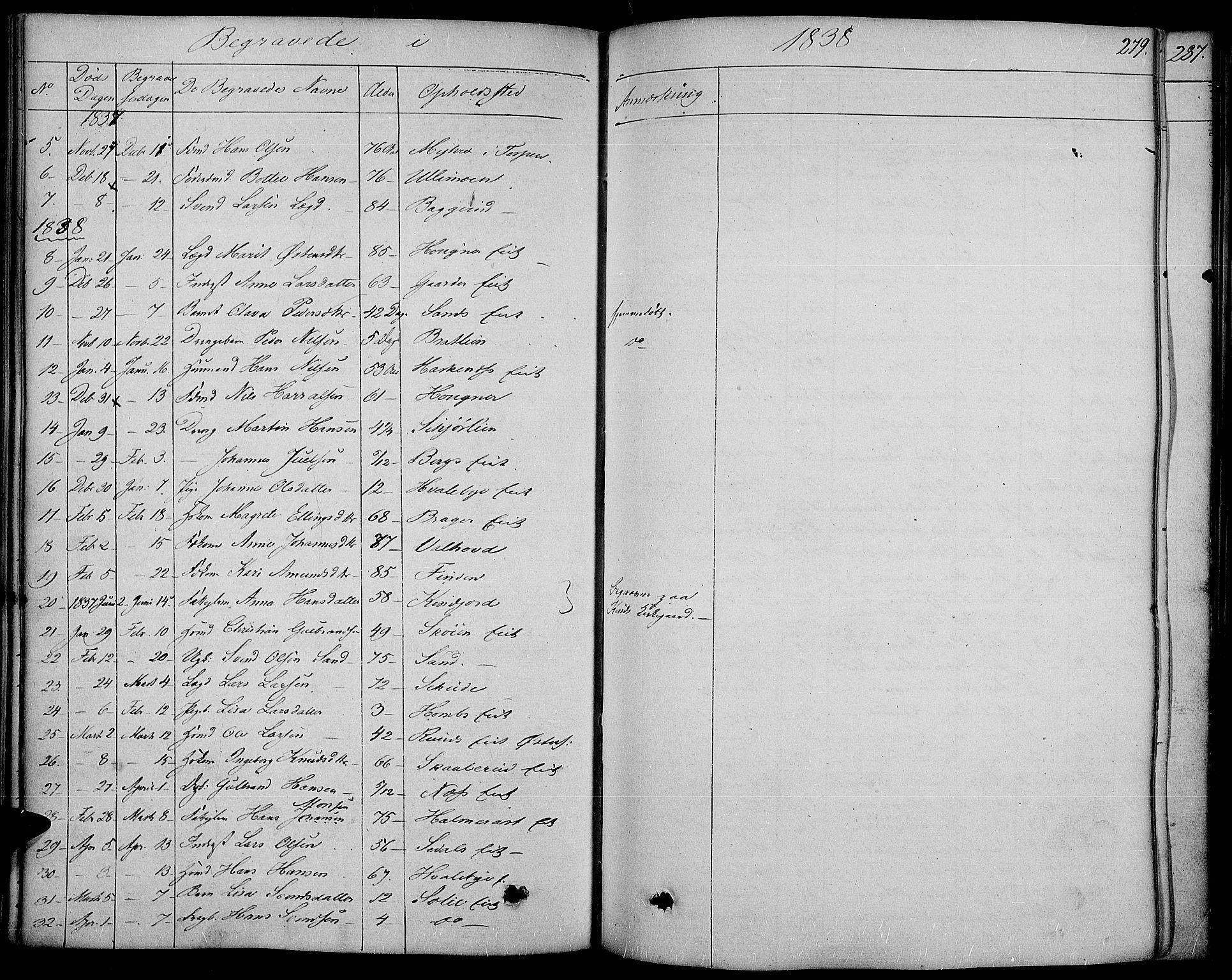 SAH, Land prestekontor, Ministerialbok nr. 8, 1830-1846, s. 279