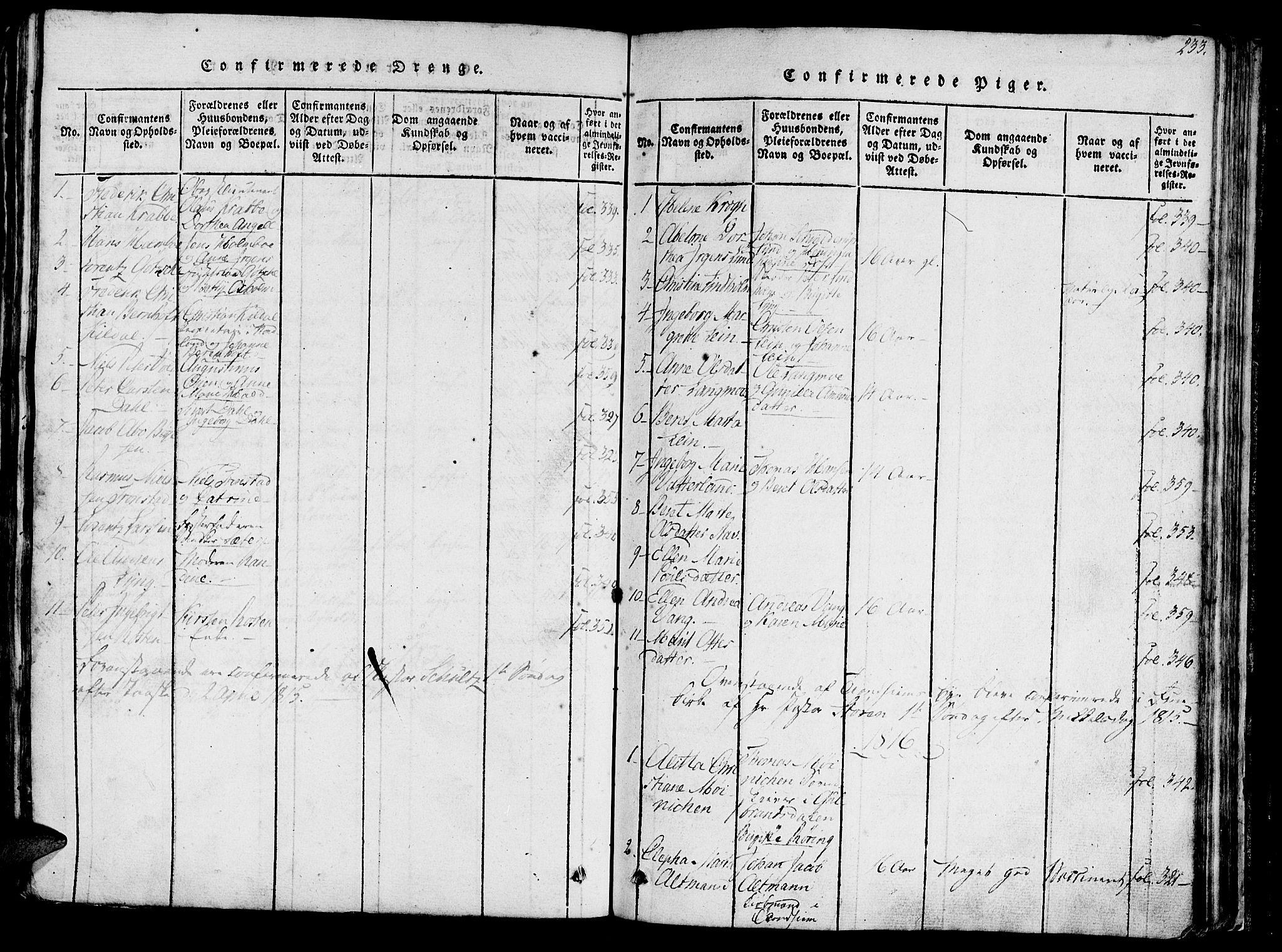 SAT, Ministerialprotokoller, klokkerbøker og fødselsregistre - Sør-Trøndelag, 602/L0135: Klokkerbok nr. 602C03, 1815-1832, s. 233