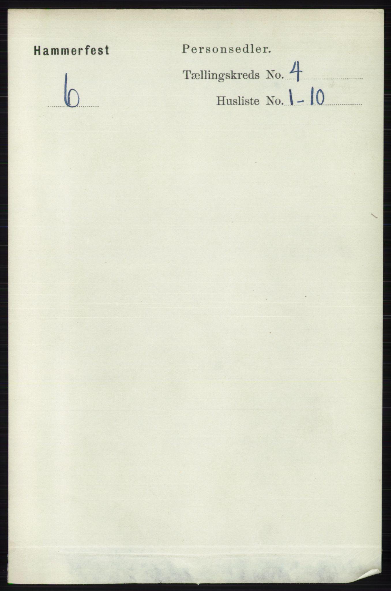 RA, Folketelling 1891 for 2001 Hammerfest kjøpstad, 1891, s. 905