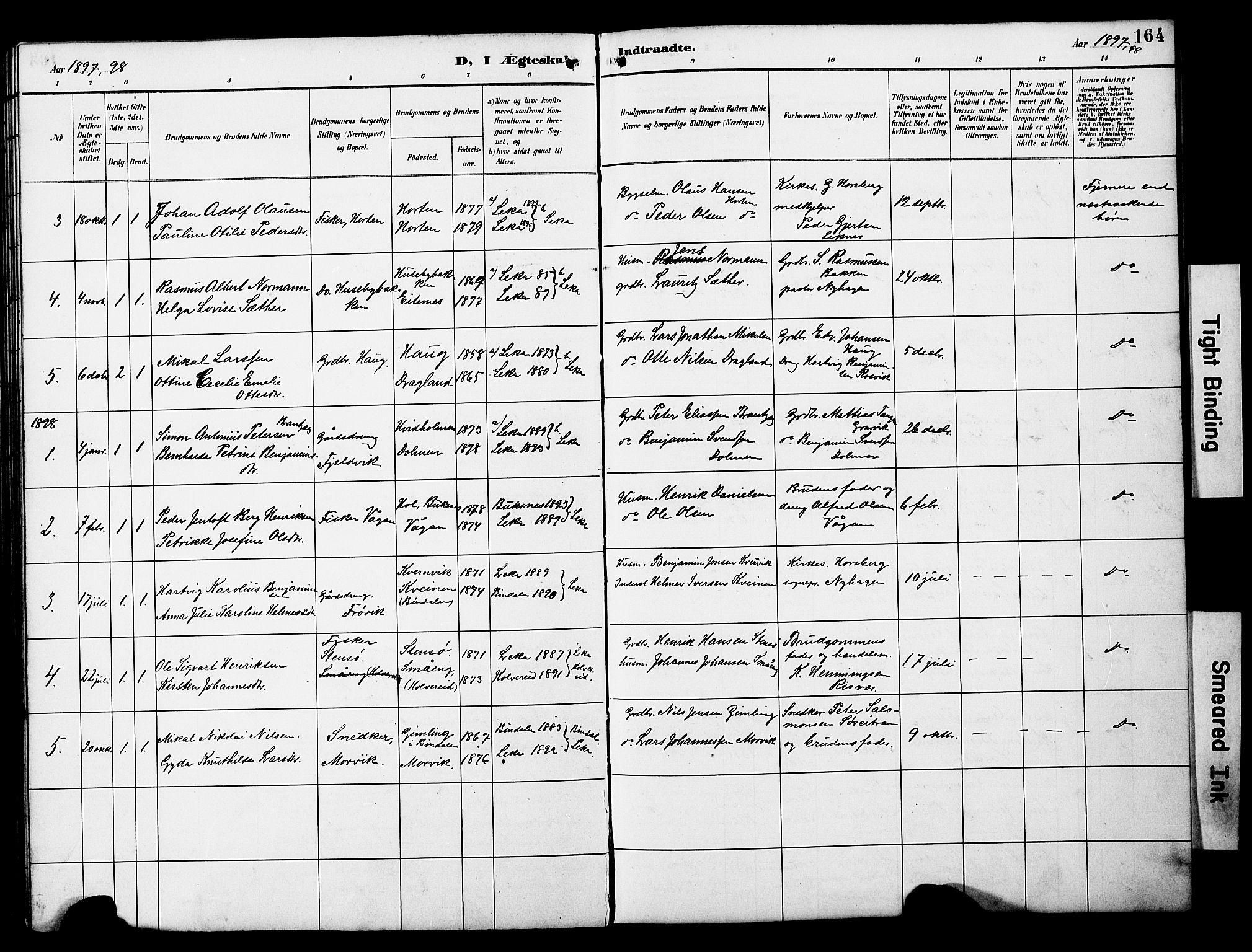 SAT, Ministerialprotokoller, klokkerbøker og fødselsregistre - Nord-Trøndelag, 788/L0701: Klokkerbok nr. 788C01, 1888-1913, s. 164