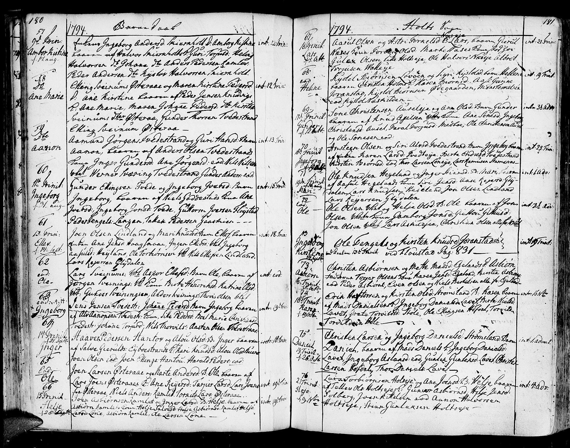 SAK, Holt sokneprestkontor, F/Fa/L0003: Ministerialbok nr. A 3, 1765-1798, s. 180-181