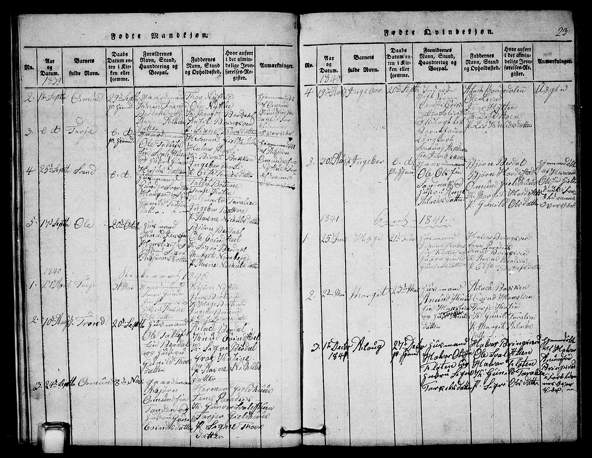 SAKO, Vinje kirkebøker, G/Gb/L0001: Klokkerbok nr. II 1, 1814-1843, s. 23