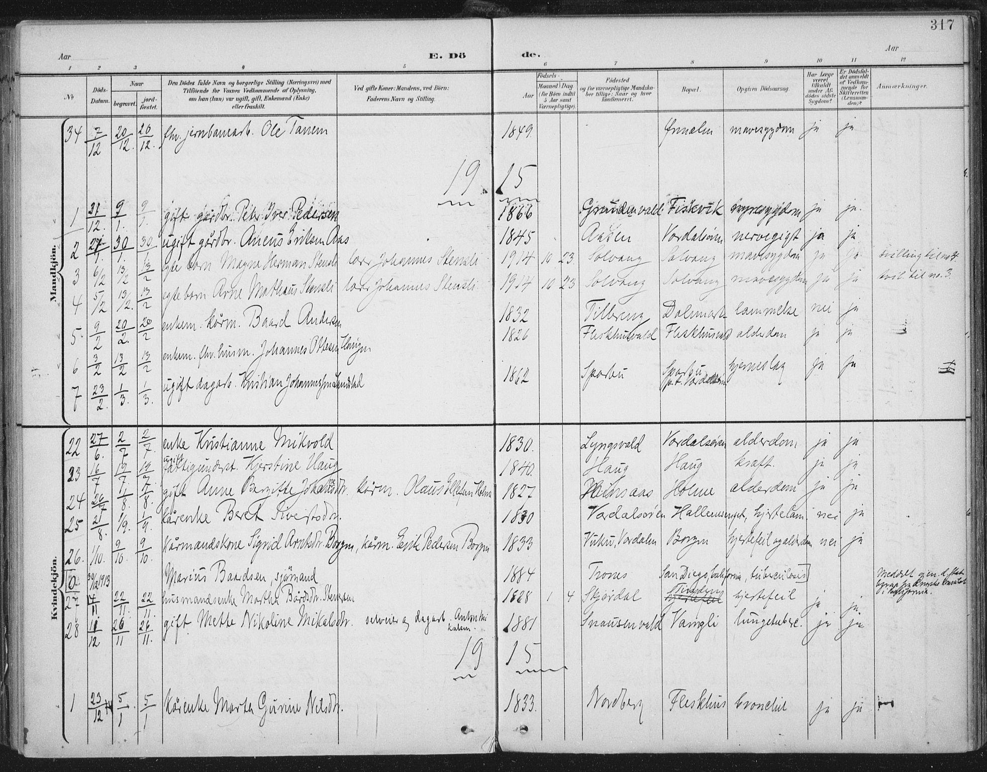 SAT, Ministerialprotokoller, klokkerbøker og fødselsregistre - Nord-Trøndelag, 723/L0246: Ministerialbok nr. 723A15, 1900-1917, s. 317