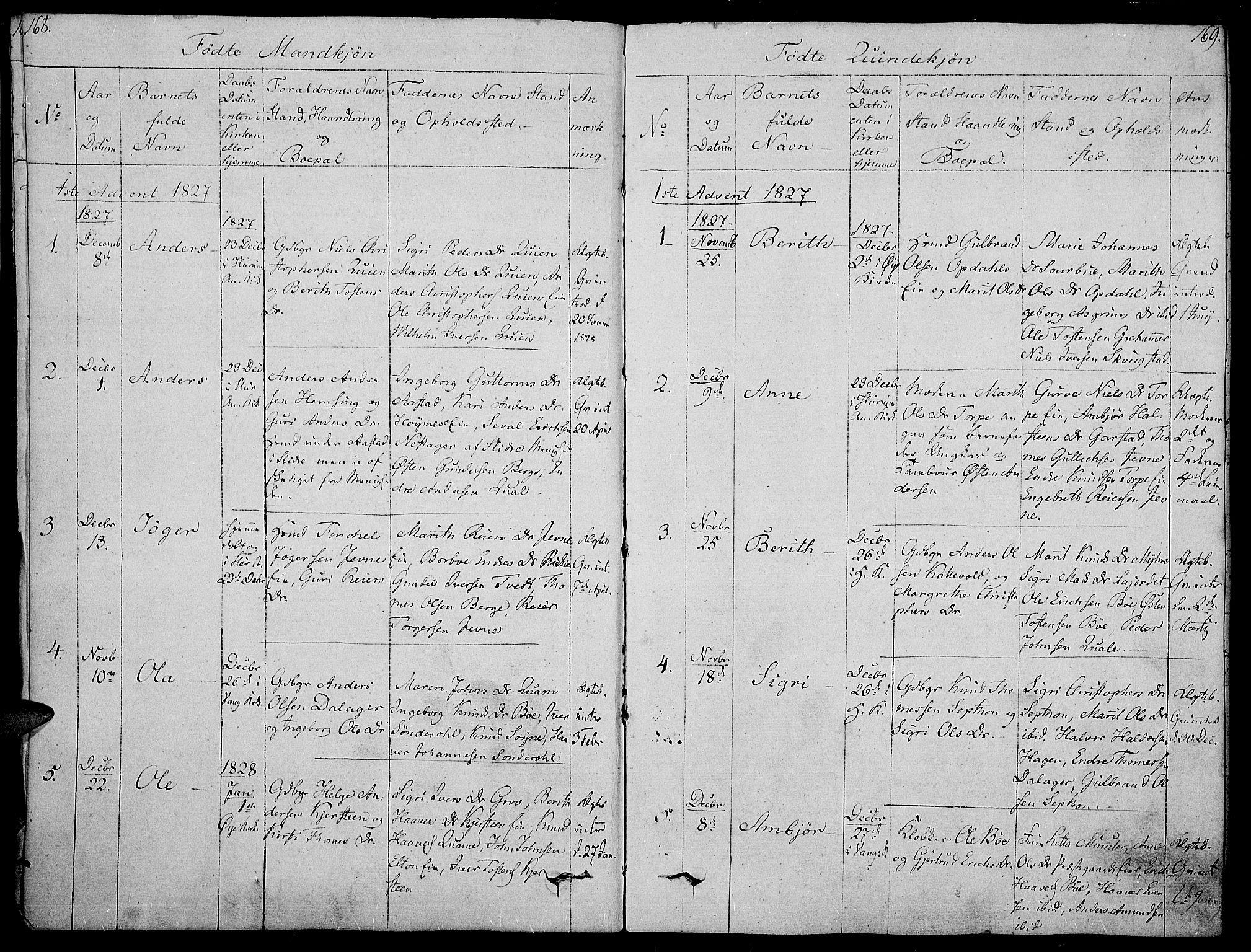 SAH, Vang prestekontor, Valdres, Ministerialbok nr. 3, 1809-1831, s. 168-169