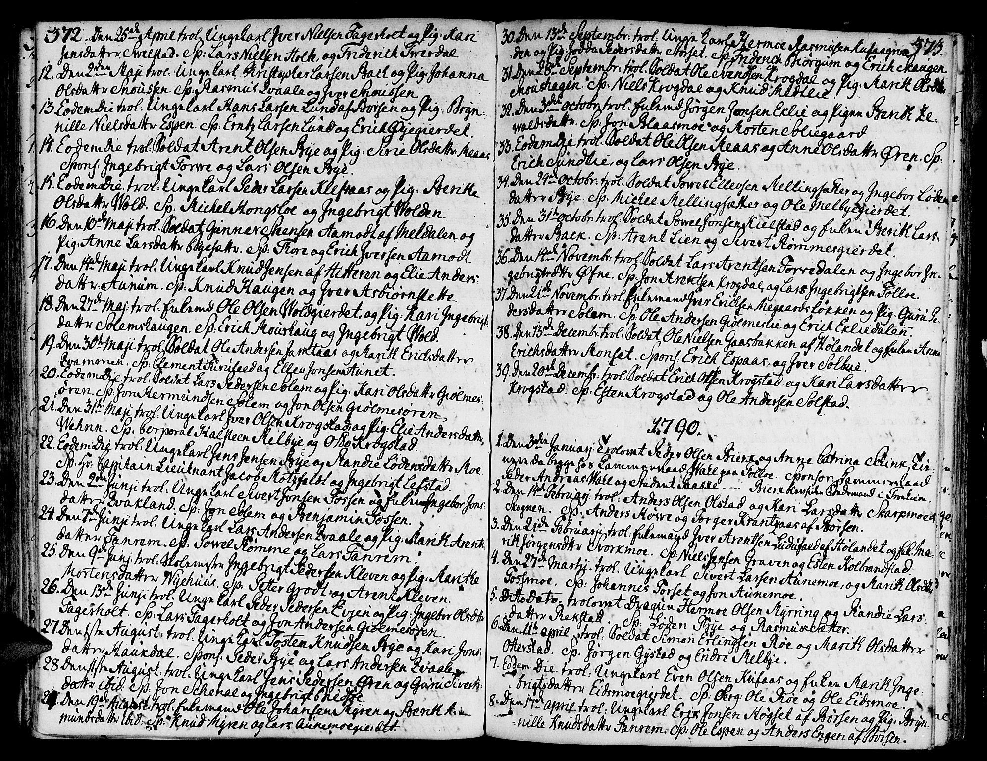 SAT, Ministerialprotokoller, klokkerbøker og fødselsregistre - Sør-Trøndelag, 668/L0802: Ministerialbok nr. 668A02, 1776-1799, s. 372-373