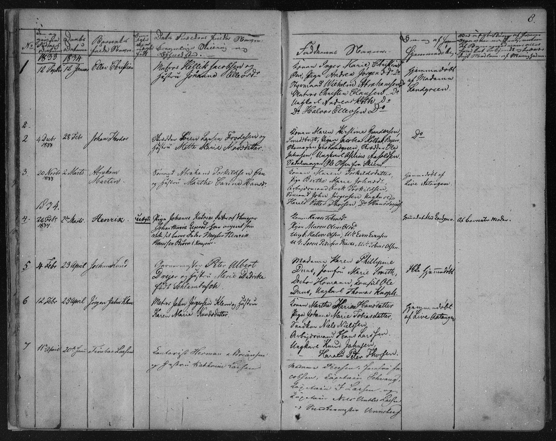 SAKO, Kragerø kirkebøker, F/Fa/L0005: Ministerialbok nr. 5, 1832-1847, s. 8