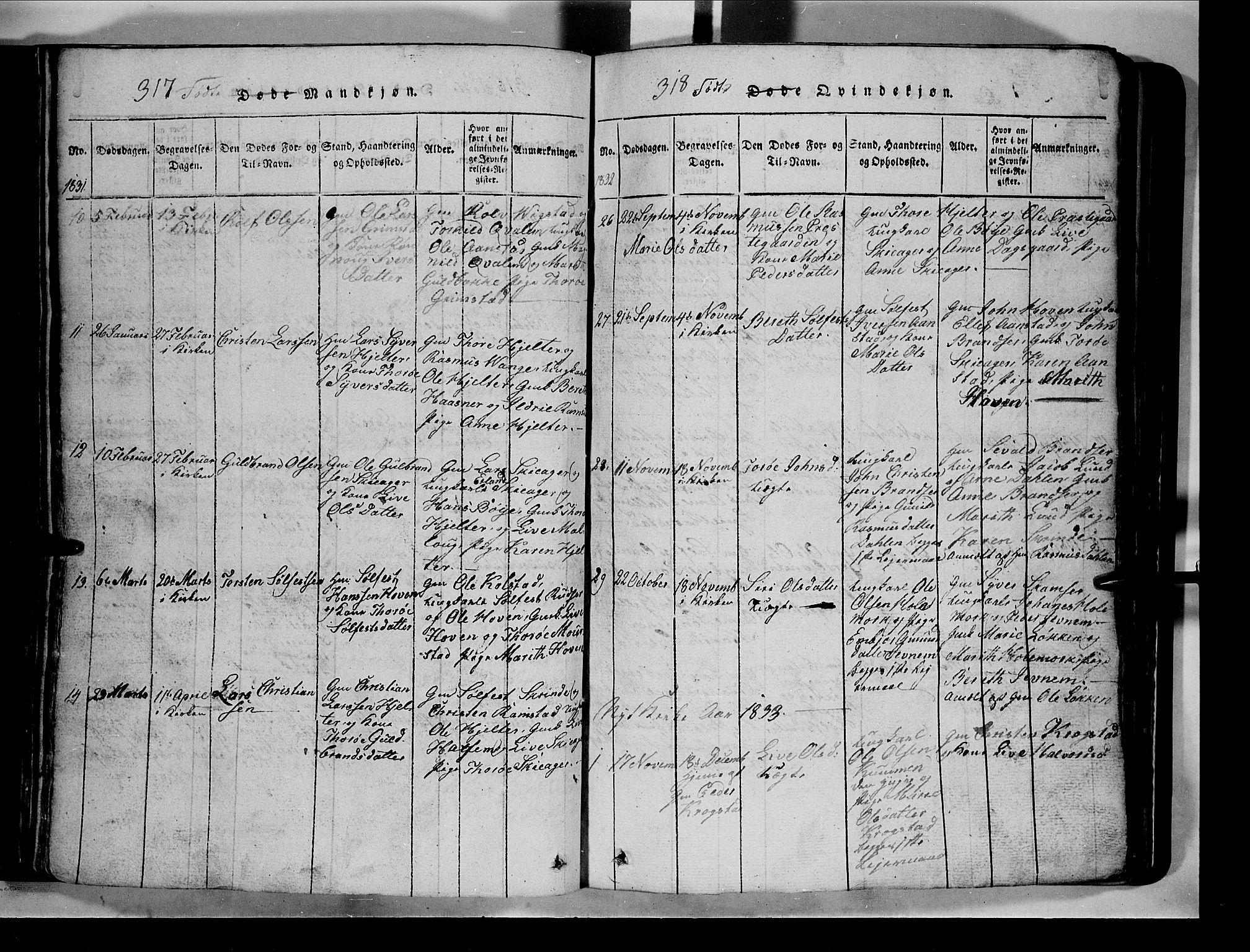 SAH, Lom prestekontor, L/L0003: Klokkerbok nr. 3, 1815-1844, s. 317-318