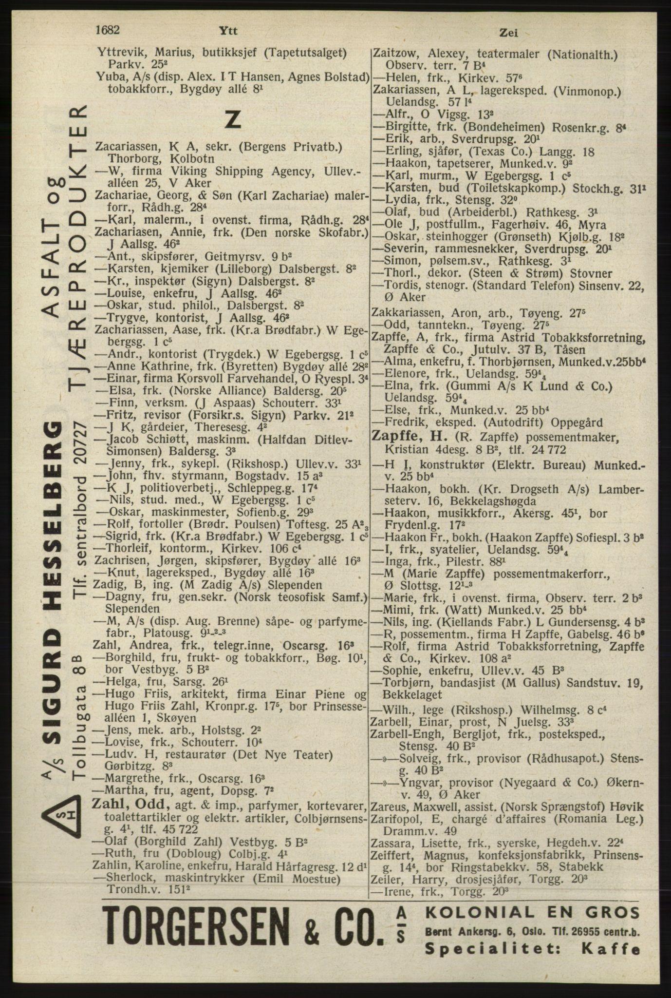 RA, Oslo adressebok (publikasjon)*, 1940, s. 1682