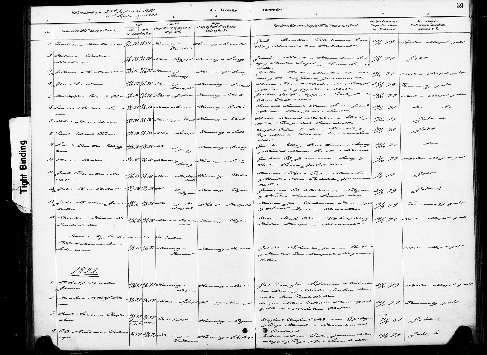 SAT, Ministerialprotokoller, klokkerbøker og fødselsregistre - Nord-Trøndelag, 738/L0364: Ministerialbok nr. 738A01, 1884-1902, s. 59