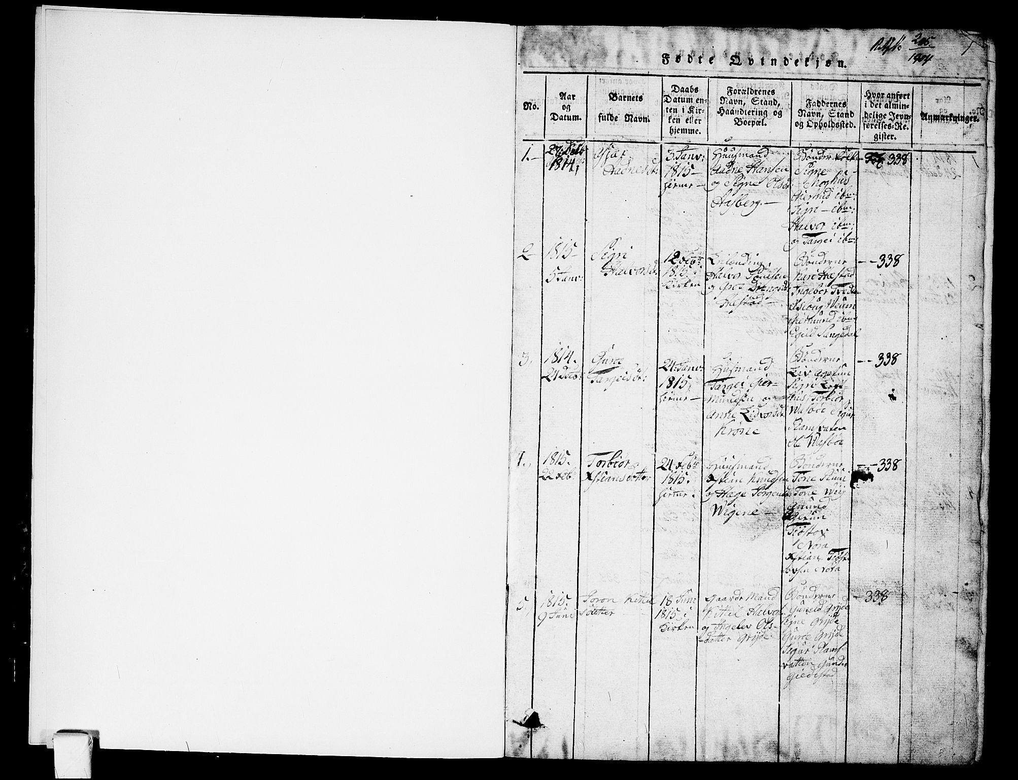 SAKO, Fyresdal kirkebøker, G/Ga/L0001: Klokkerbok nr. I 1, 1816-1840, s. 1