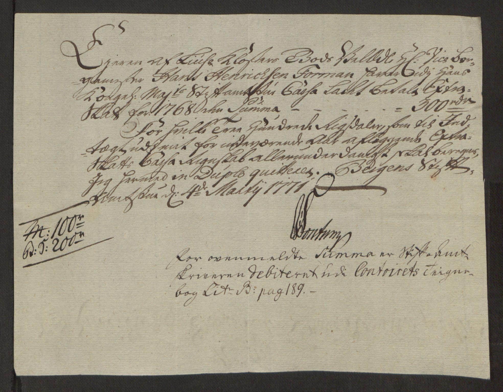 RA, Rentekammeret inntil 1814, Reviderte regnskaper, Fogderegnskap, R50/L3180: Ekstraskatten Lyse kloster, 1762-1783, s. 205