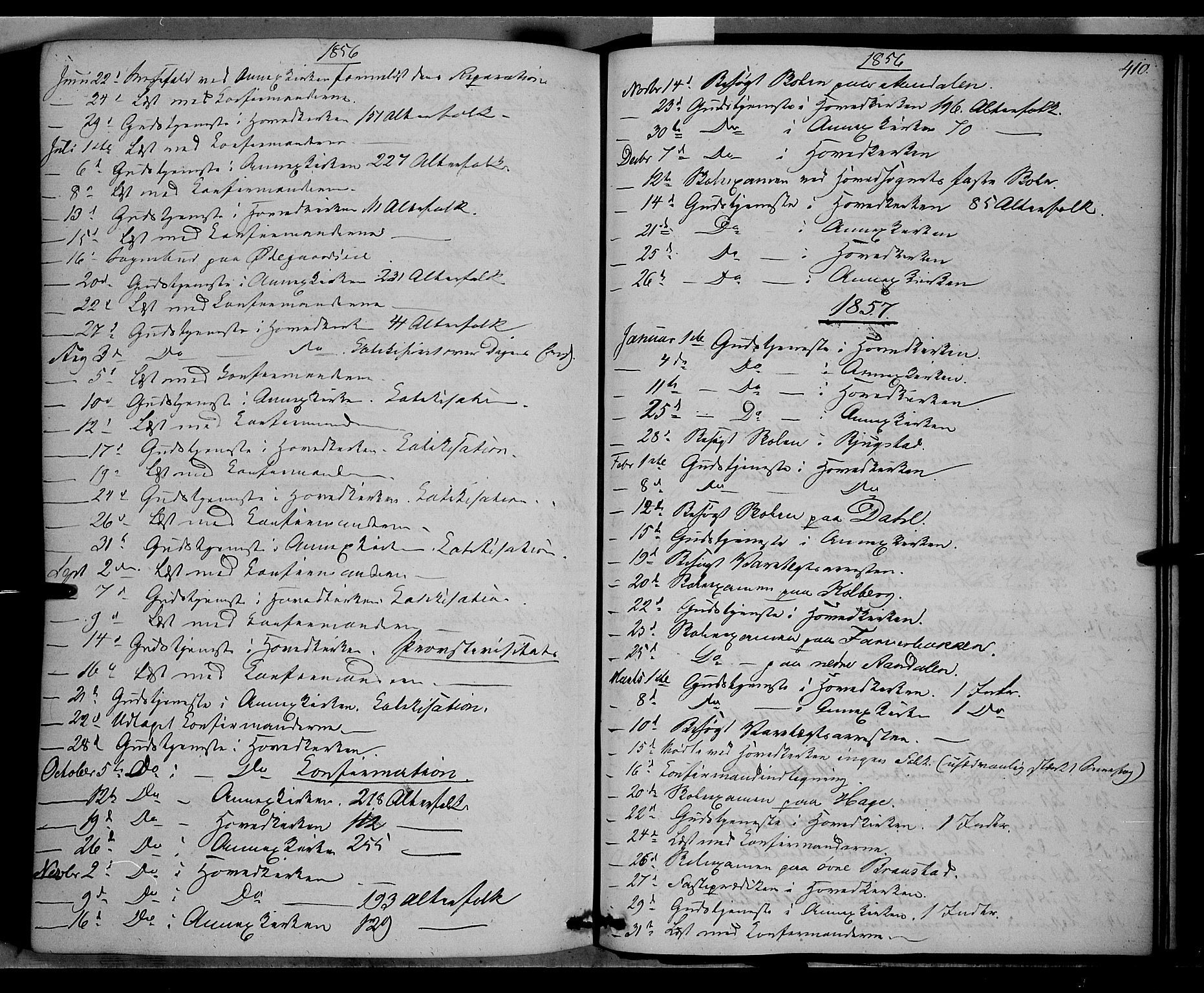 SAH, Vardal prestekontor, H/Ha/Haa/L0006: Ministerialbok nr. 6, 1854-1866, s. 410